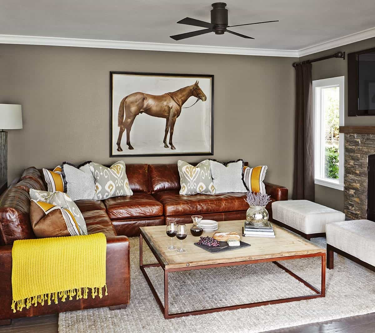 Eclectic Living Room With Rustic Coffee Table (Image 14 of 32)