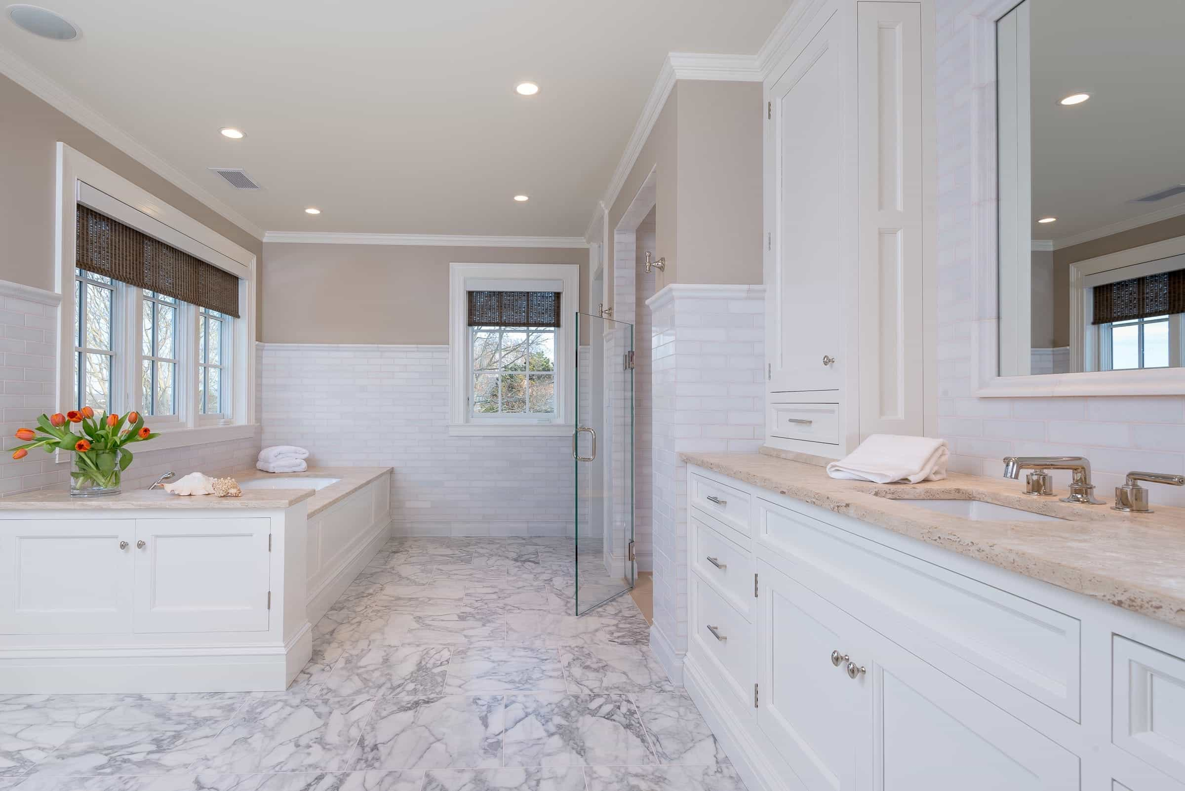 Elegance Transitional Bathroom With Calcutta Marble Floors (Image 8 of 20)