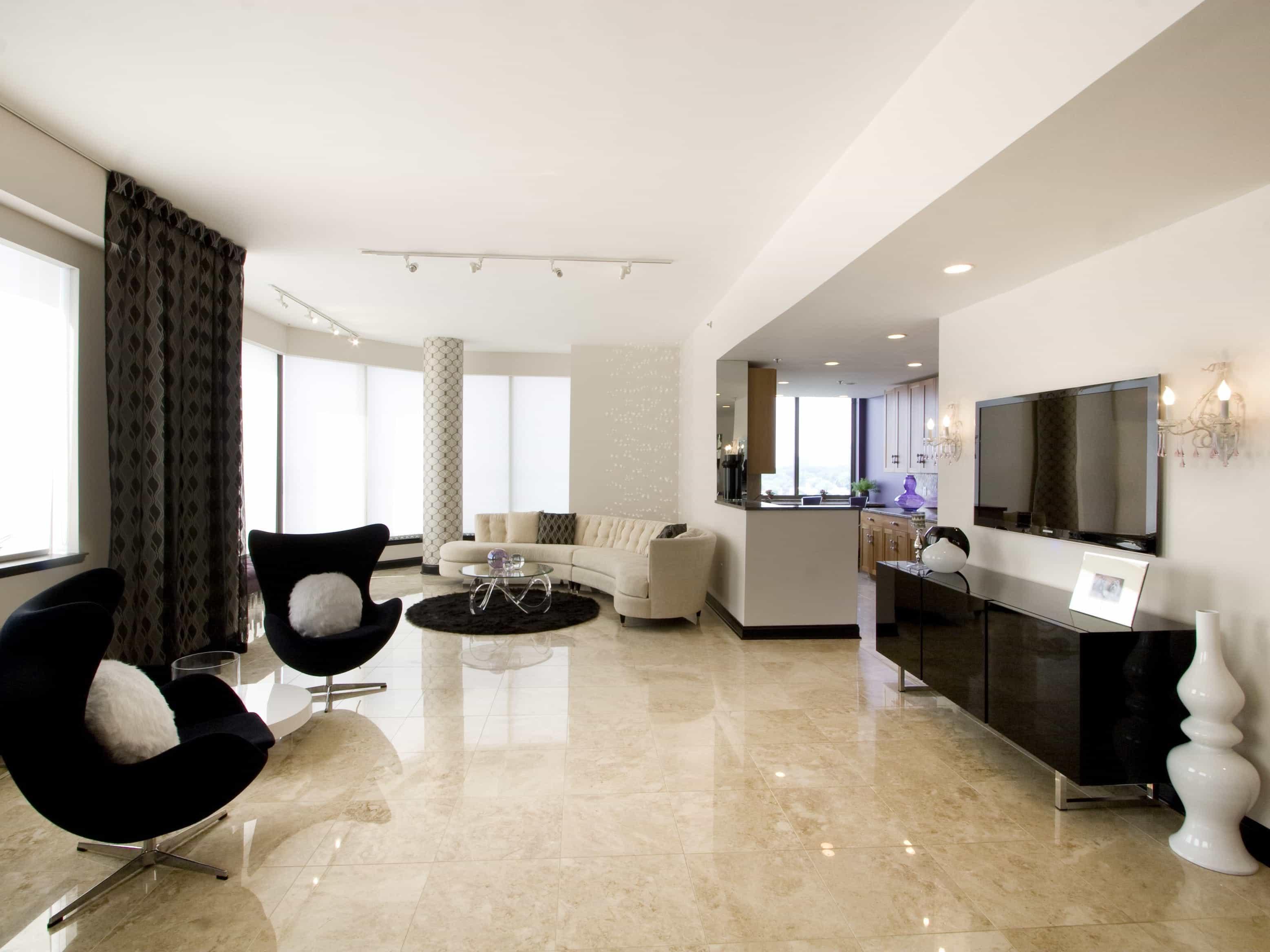 Elegance Modern Living Room With Brown Marble Flooring (Image 4 of 13)