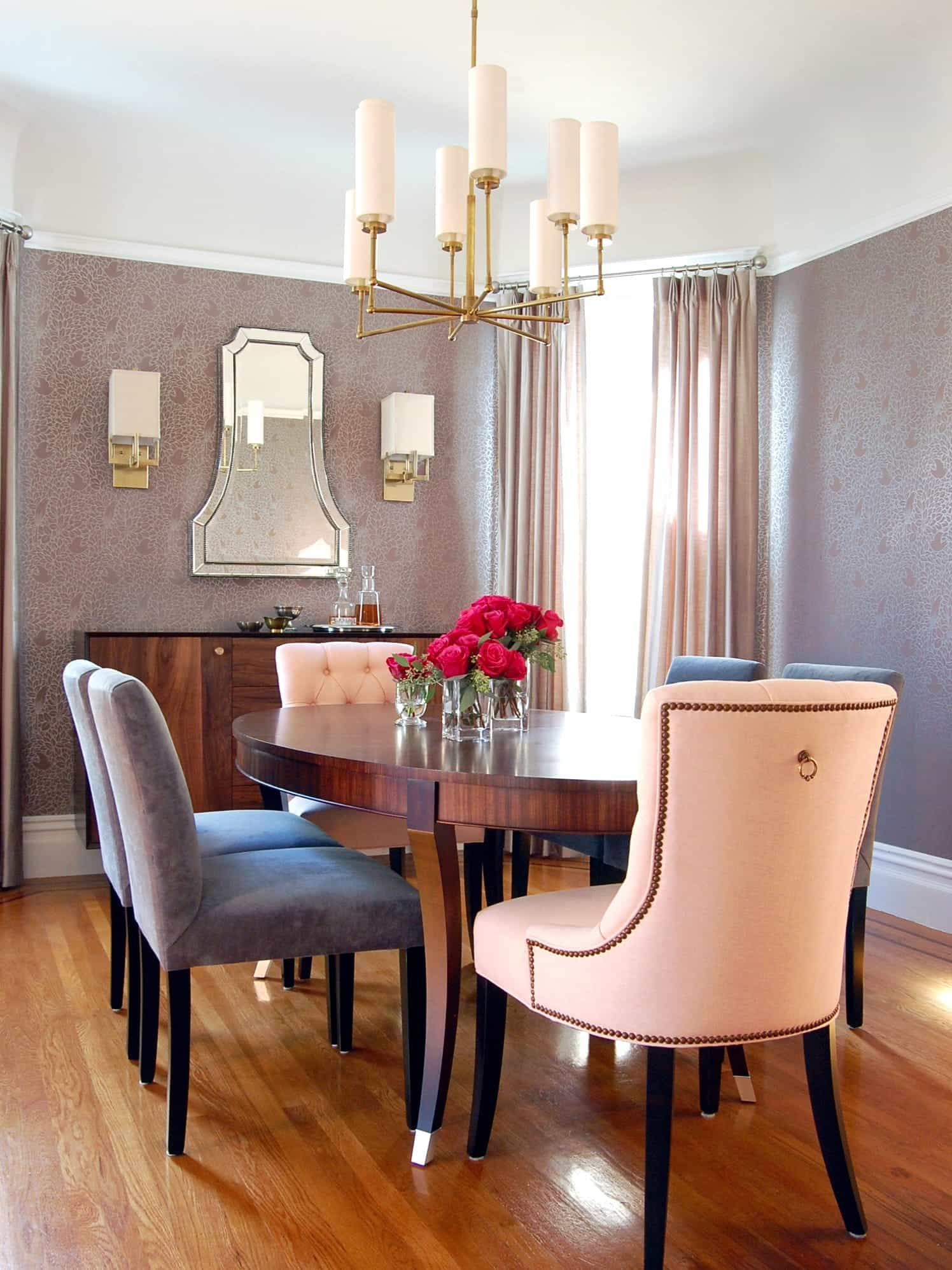 Elegant Romantic Dining Room With Pink And Gray Eclectic Chairs With Chandelier (View 11 of 21)