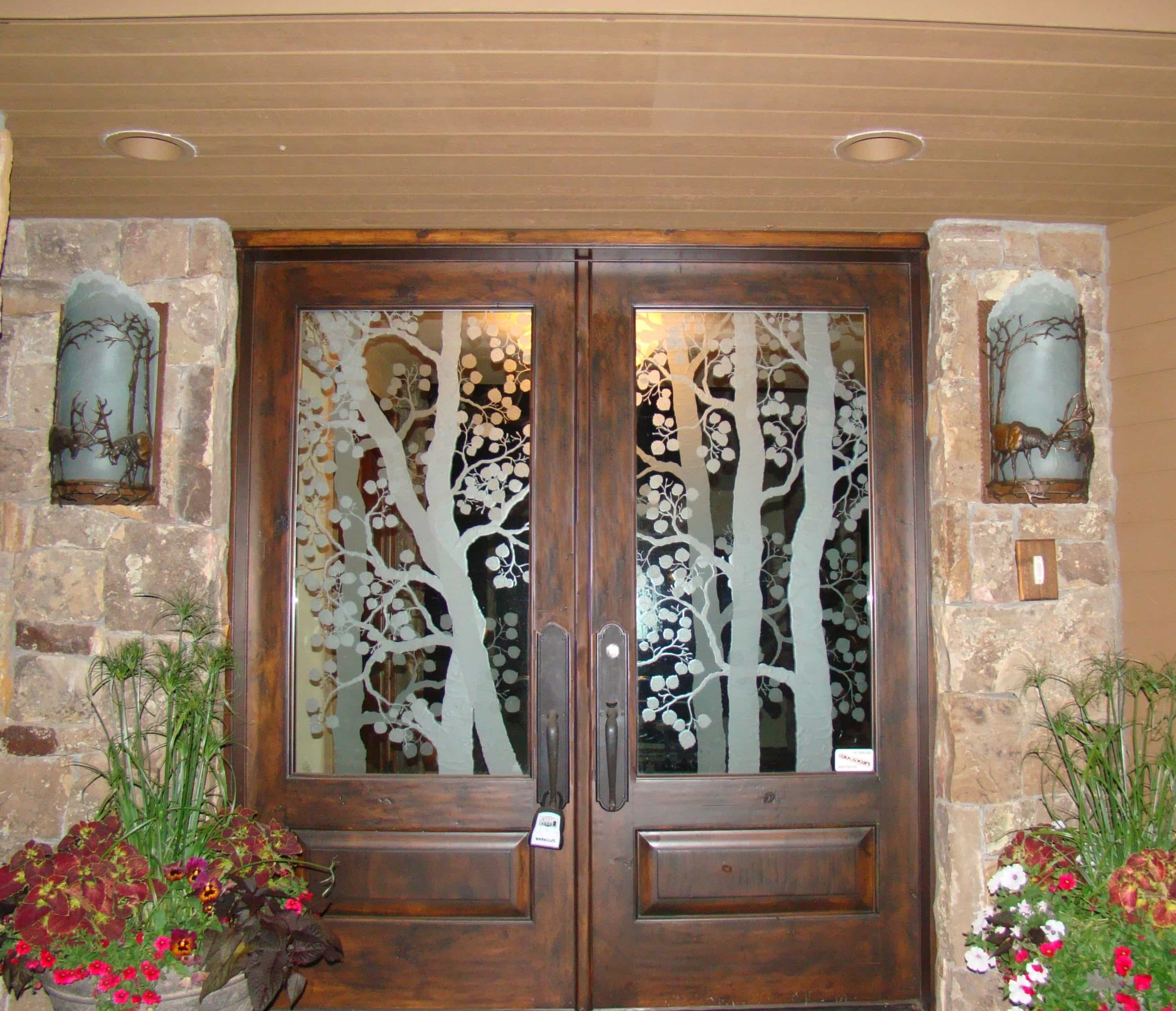 Etched Carved And Sculptured Glass Door With Wood Frame (View 2 of 7)