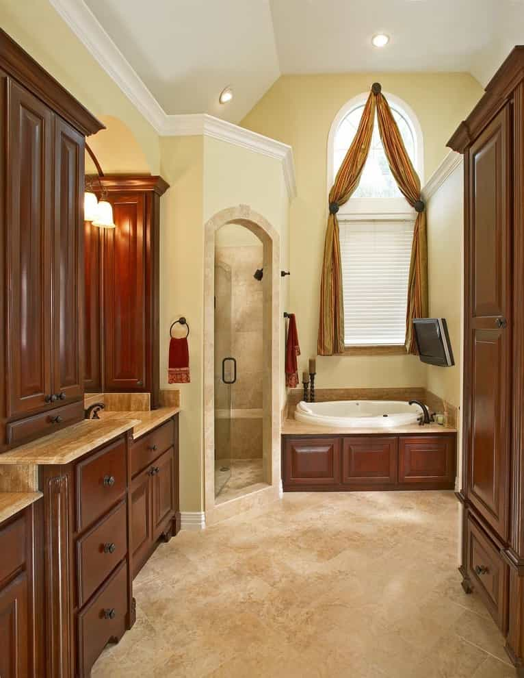 Example Of A Classic Italian Bathroom Remodel With LCD TV (View 12 of 14)