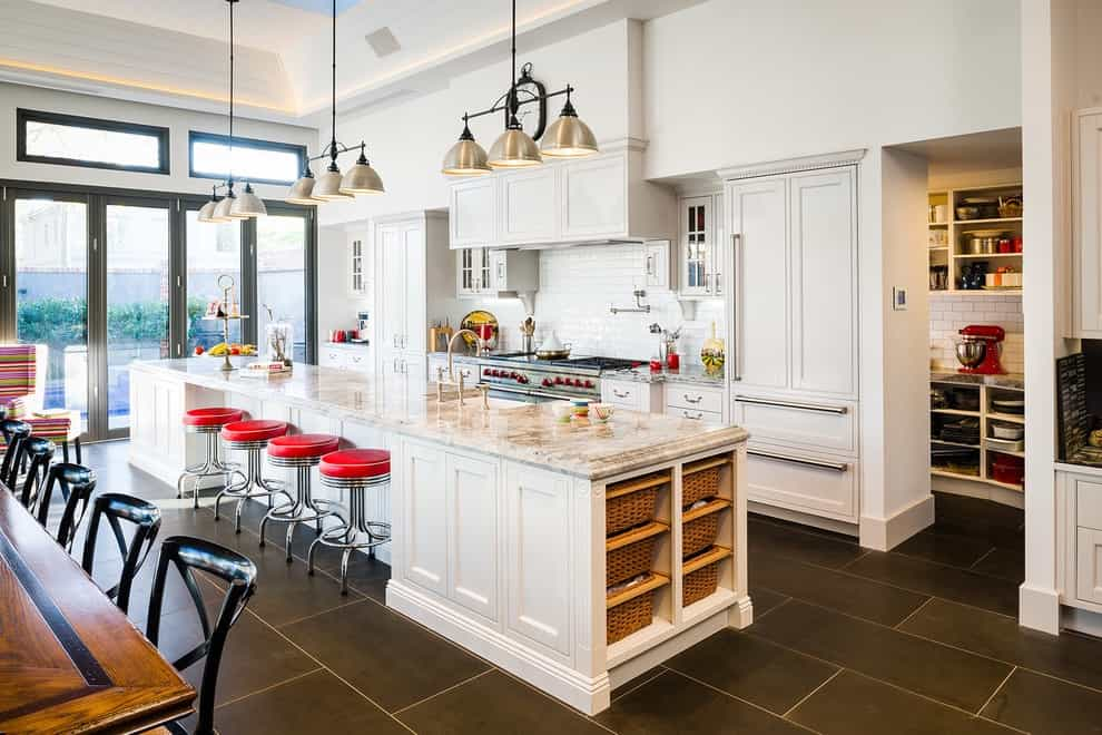 Expansive Traditional Galley Eat In Kitchen Remodel With A Farmhouse Sink (View 34 of 39)