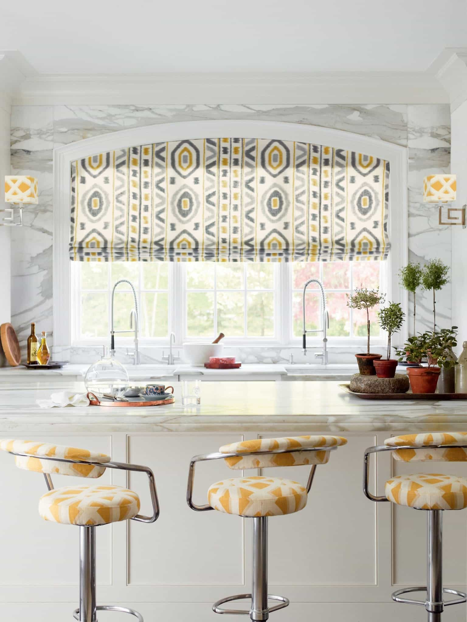 Fabric Based Patterned Curtain For White Country Kitchen Interior (Image 3 of 11)