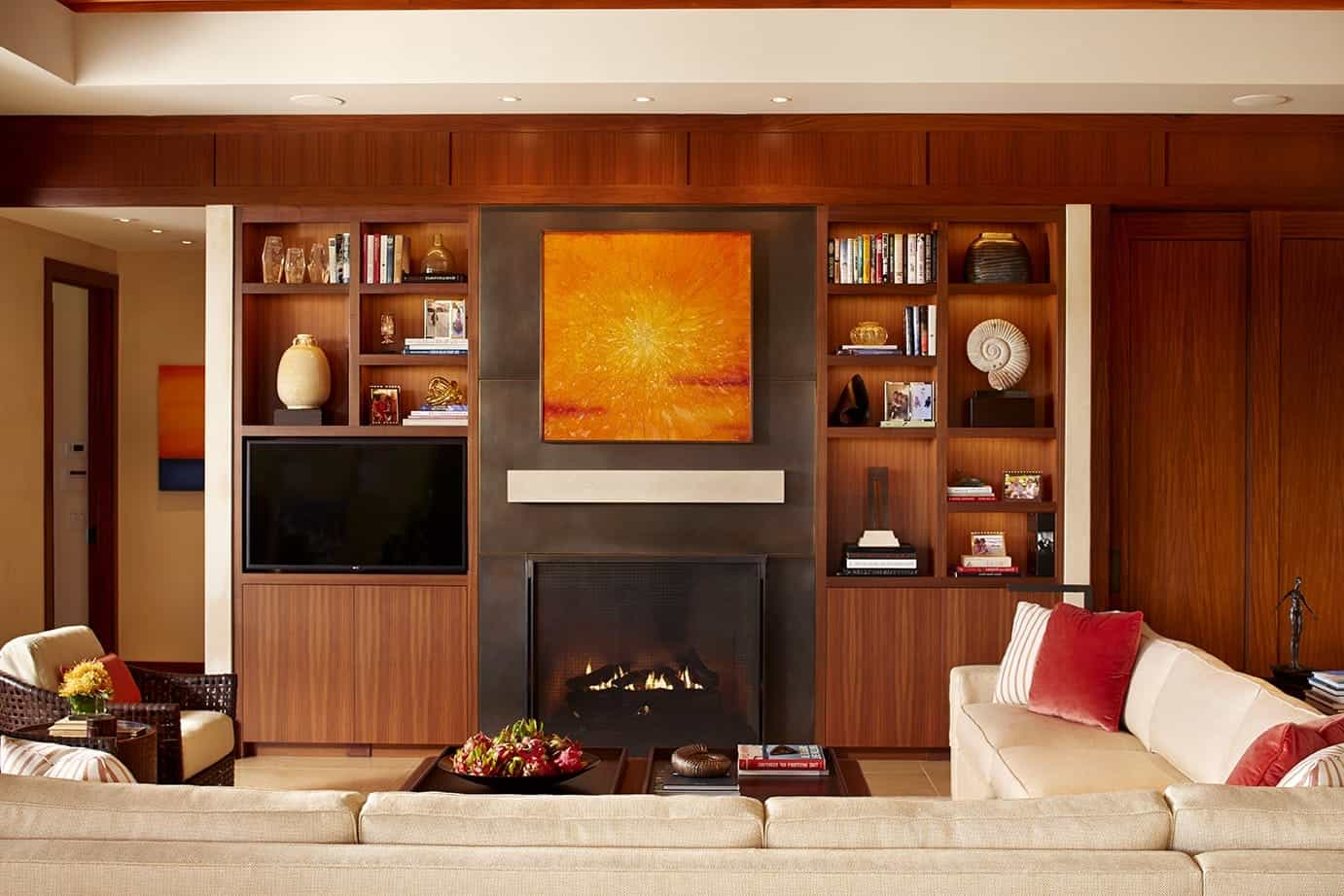 Fireplace And Warm Wood Bookshelves For Luxury Living Room (View 20 of 29)