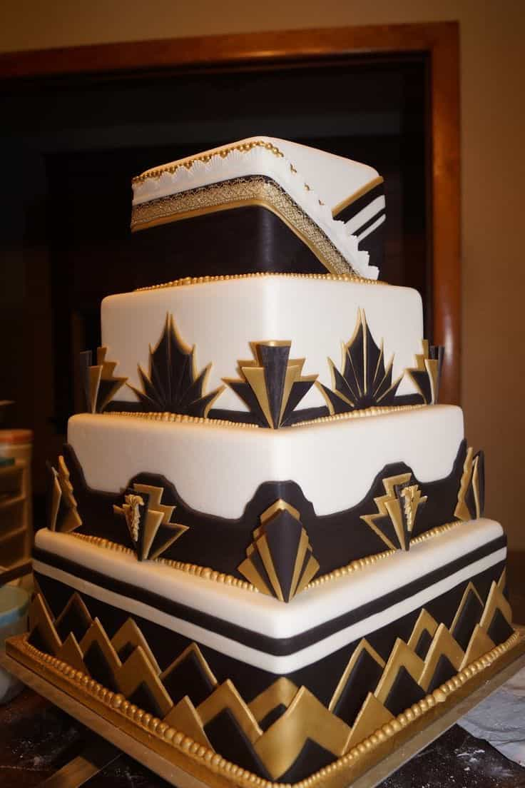 Four Tiers Modern Mixed Pattern Wedding Cake (Image 3 of 10)