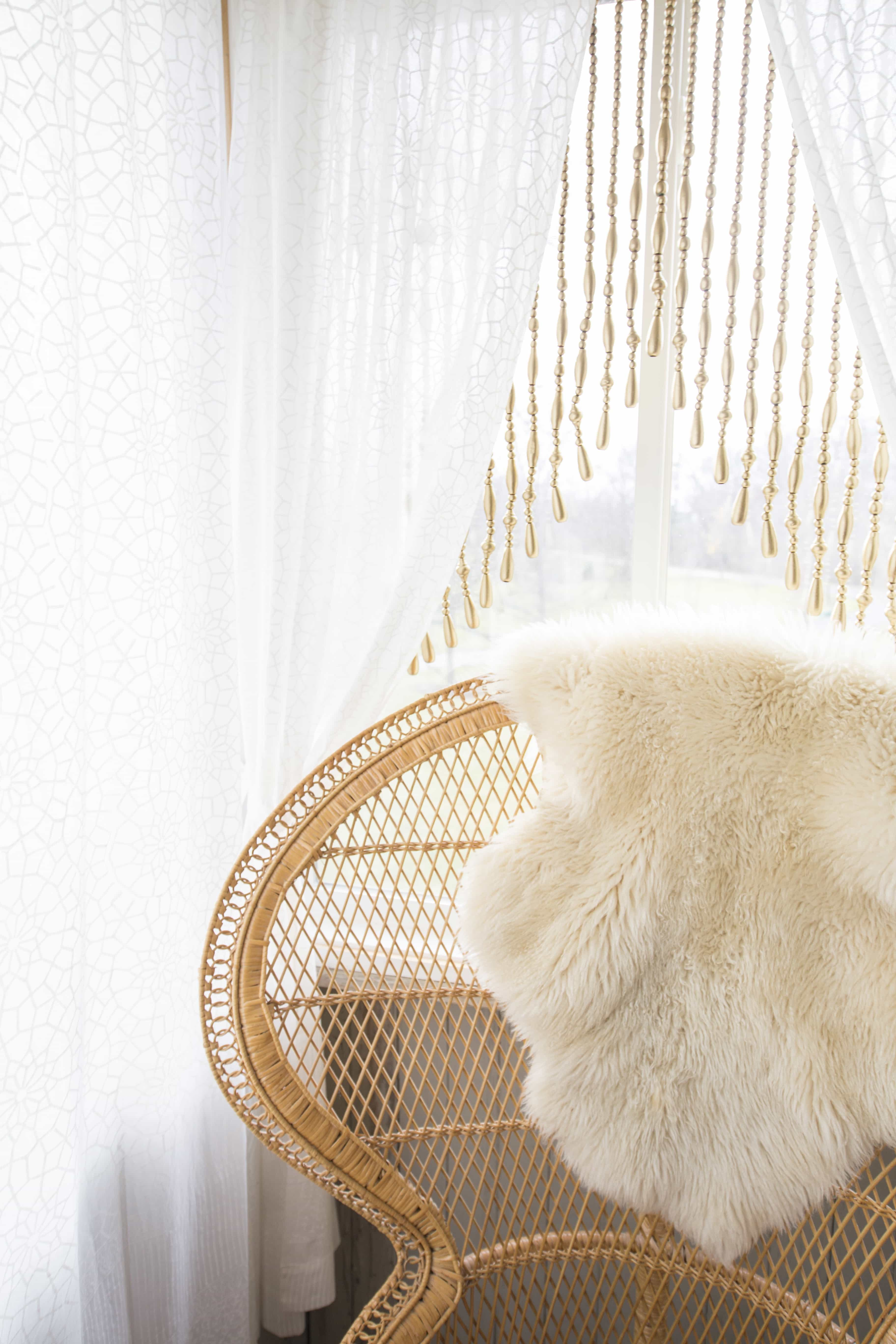 Fur Decorative Throw And White Curtains With Beaded Fringe (View 10 of 23)