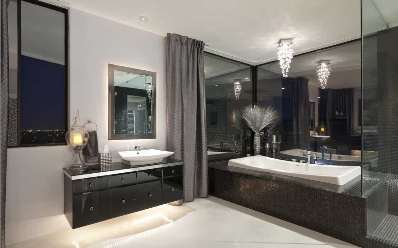 Glamour Black Themed Transitional Bathroom With Double Vanities (View 6 of 10)