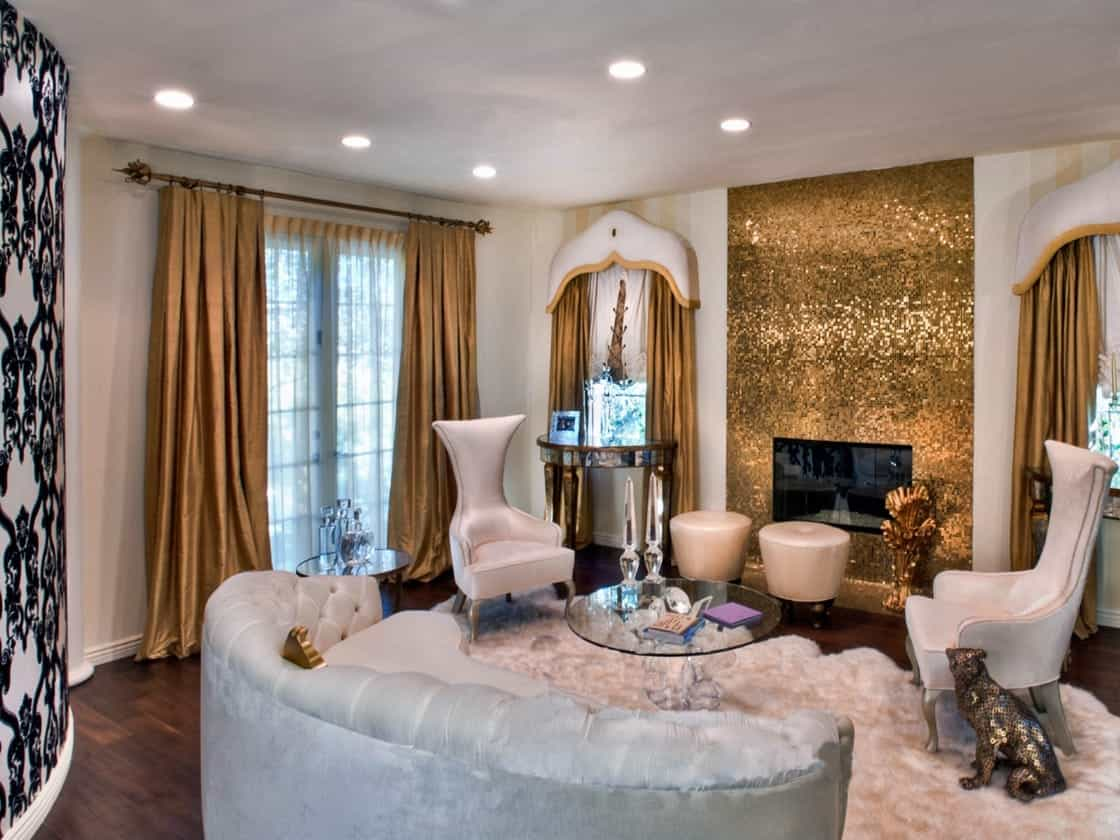 Glamourous Living Room Decoration With Gold Mosaic Tile Fireplace (View 13 of 16)