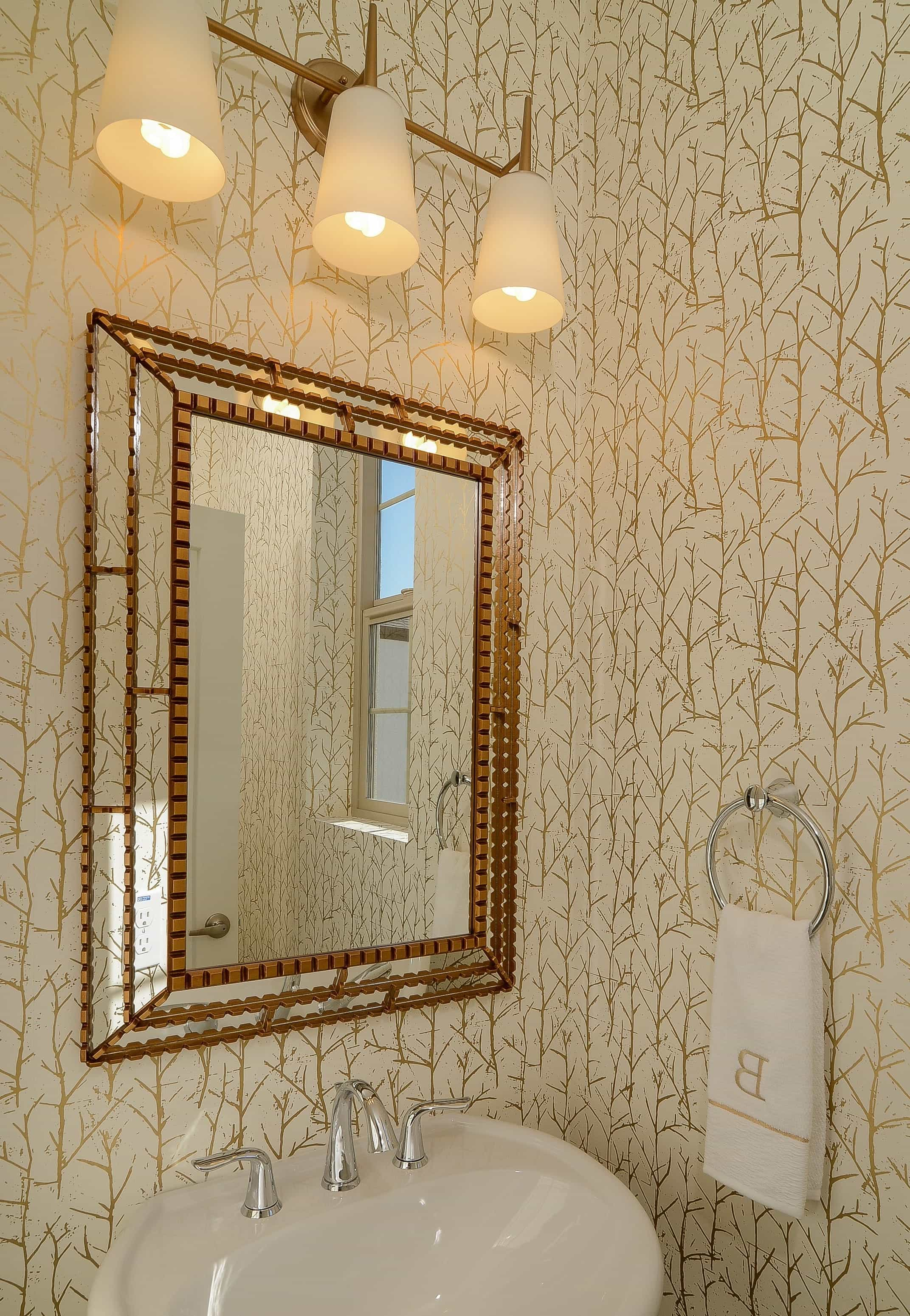 Gold Accented Transitional Bathroom With Three Light Sconce And Textured Mirror Frame (Image 11 of 20)