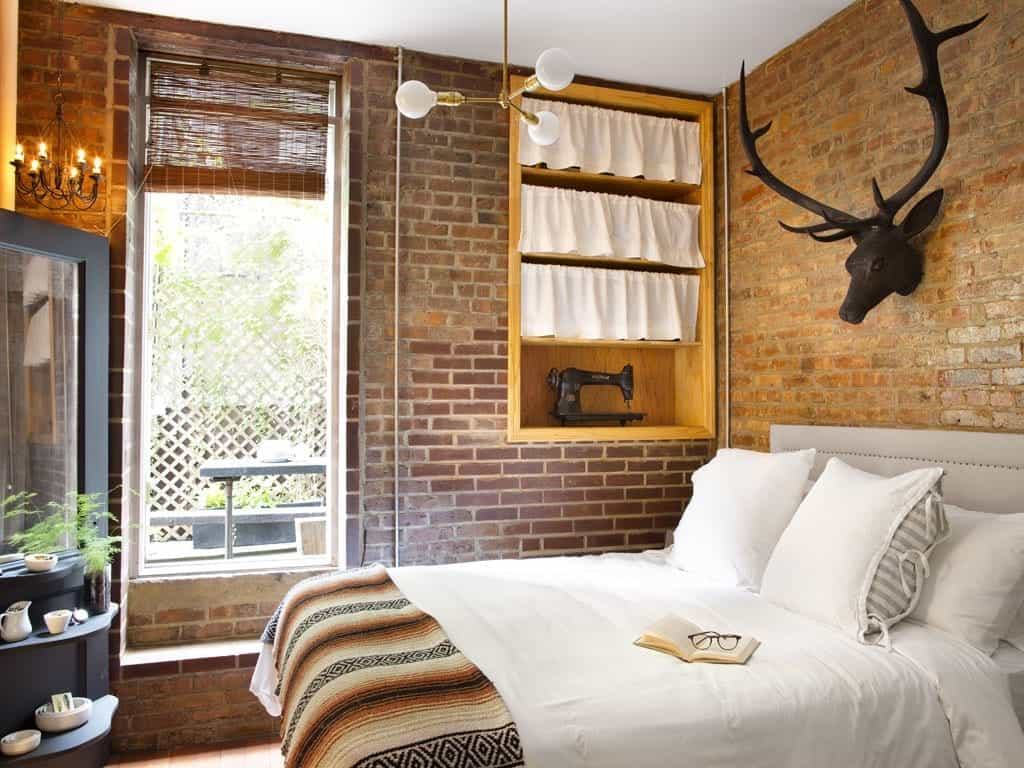Gorgeous Country Style Bedroom Decoration With Brick Wall (Image 16 of 28)