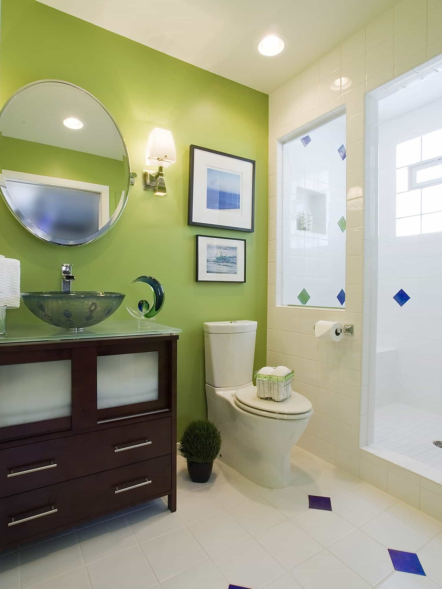 Green Eclectic Bathroom Decoration With Round Mirror And Vessel Sink (Image 8 of 12)