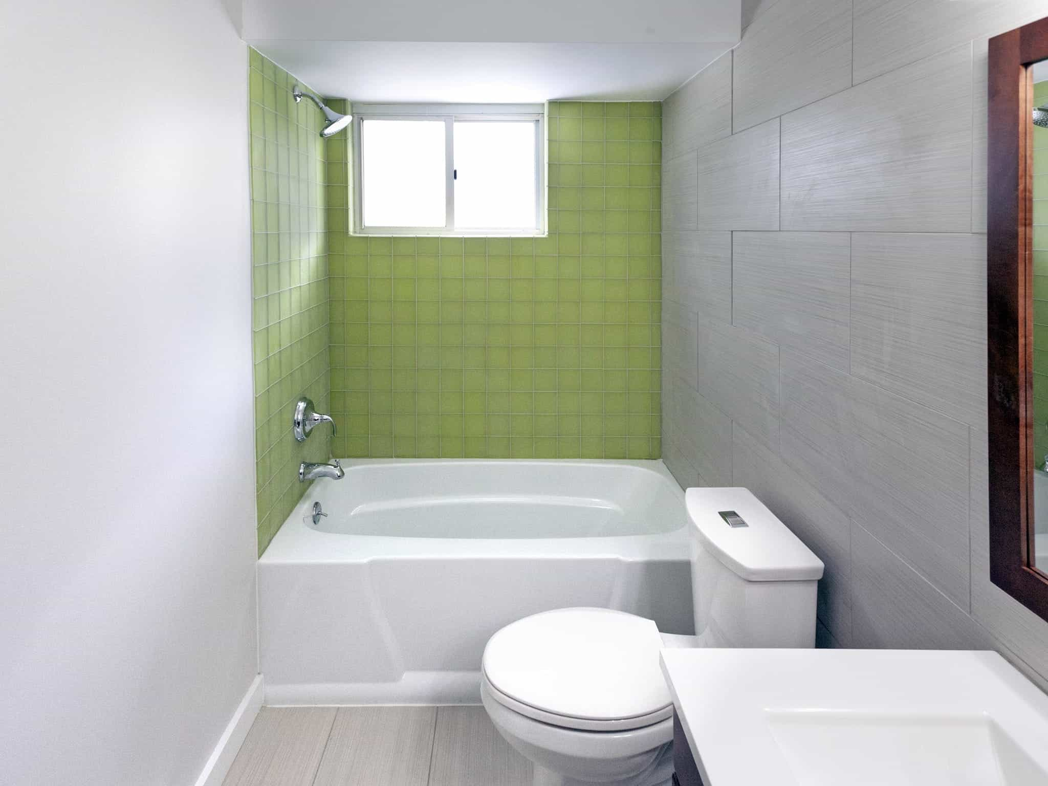 Green Tile Shower In Neutral Bathroom Interior (Photo 10 of 12)