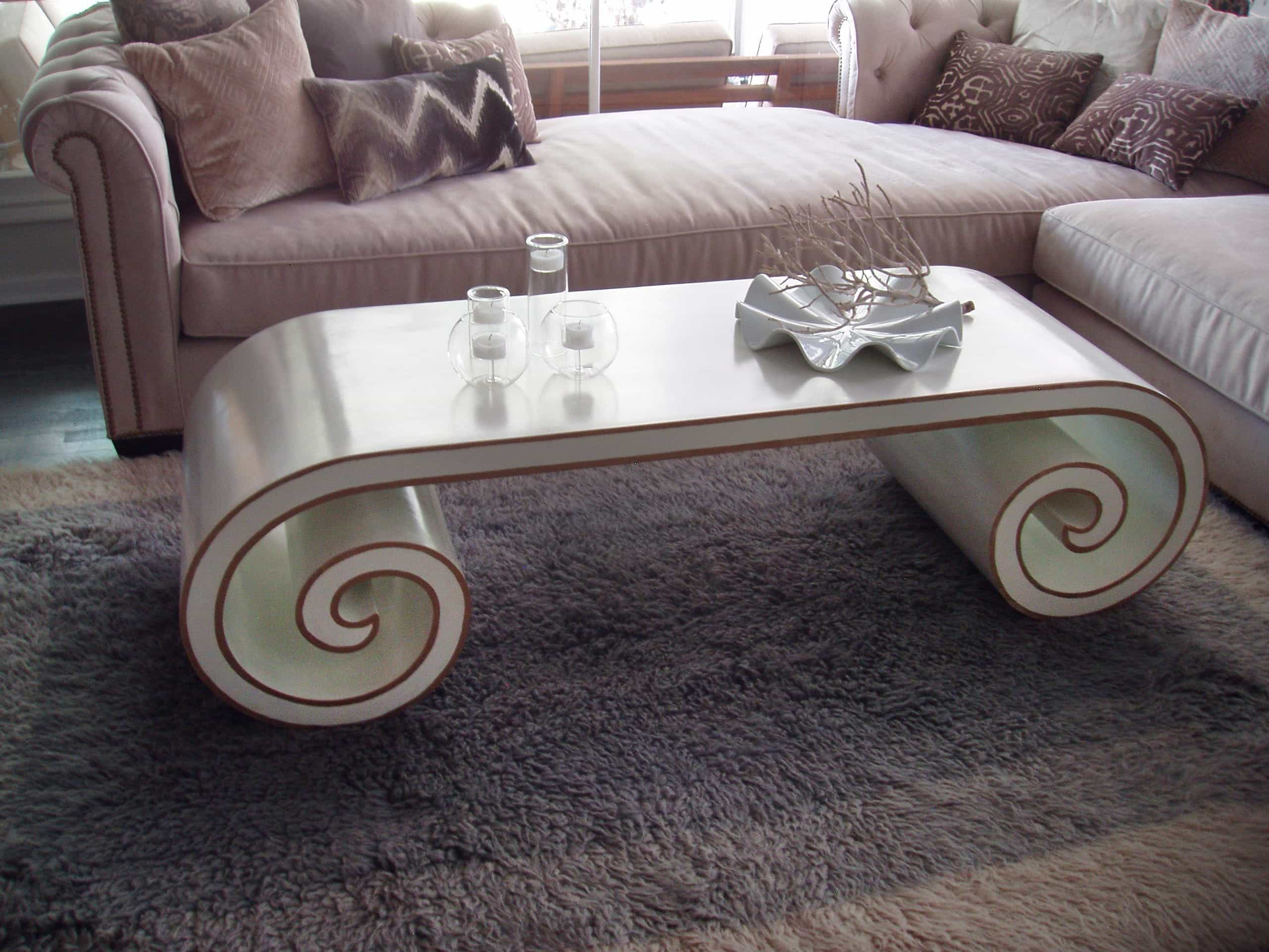 Hand Painted Curved Coffee Table With Purple Sofa (Image 17 of 32)