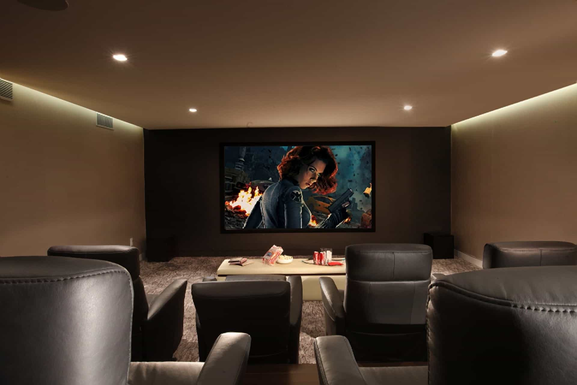 Home Theater With Gray Recliners (Image 10 of 21)