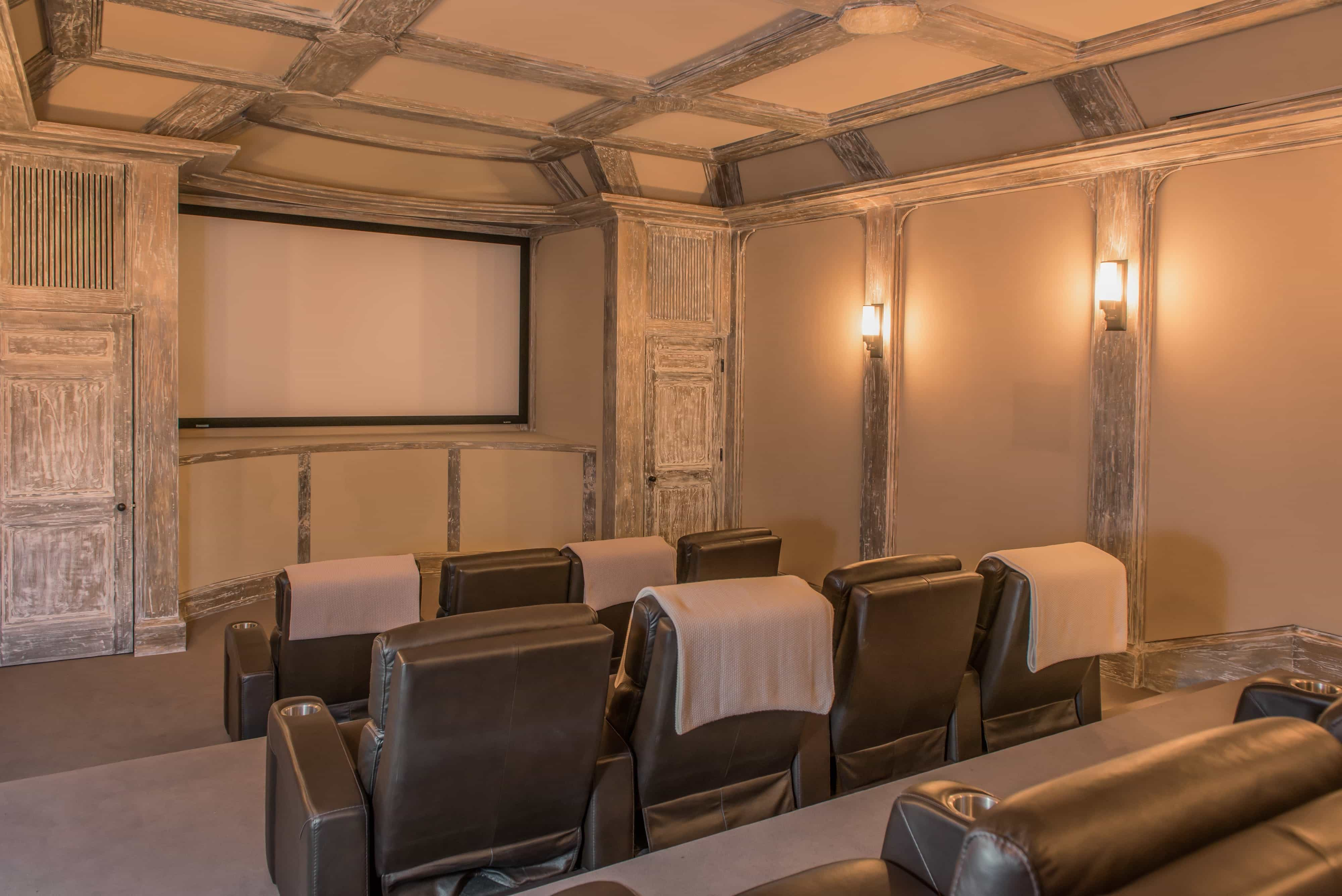Home Theater With Leather Viewing Seats And Rustic Coffered Ceiling (Image 11 of 21)