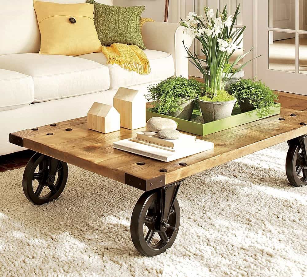 Industrial Wood Top Coffee Table And Centerpieces (Image 12 of 30)