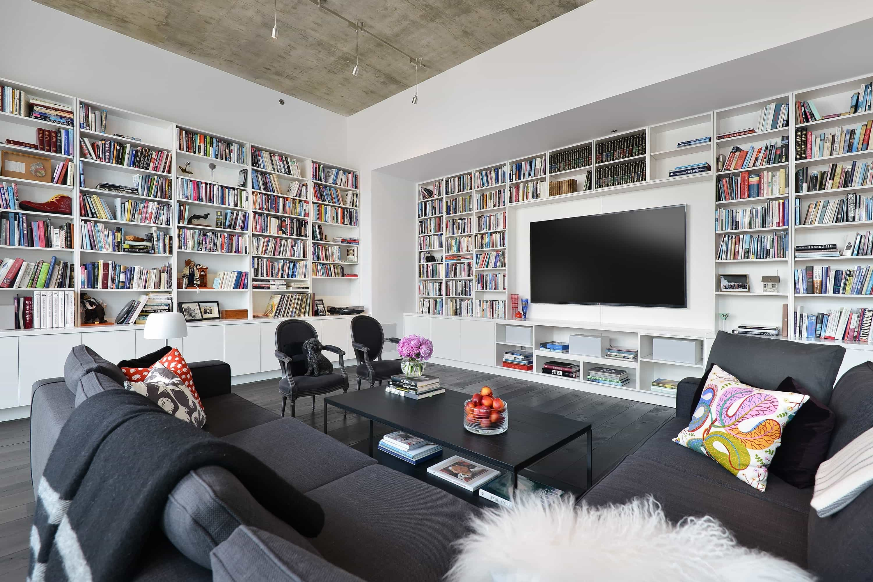 Large Full Wall Built In Bookcase For Modern Living Room  (Image 15 of 29)