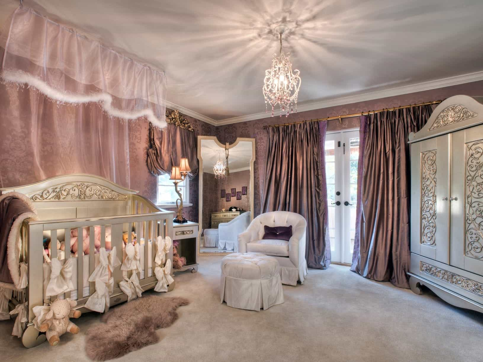 Large Lavender Girl's Nursery With Elegant Furninshings (Image 12 of 33)