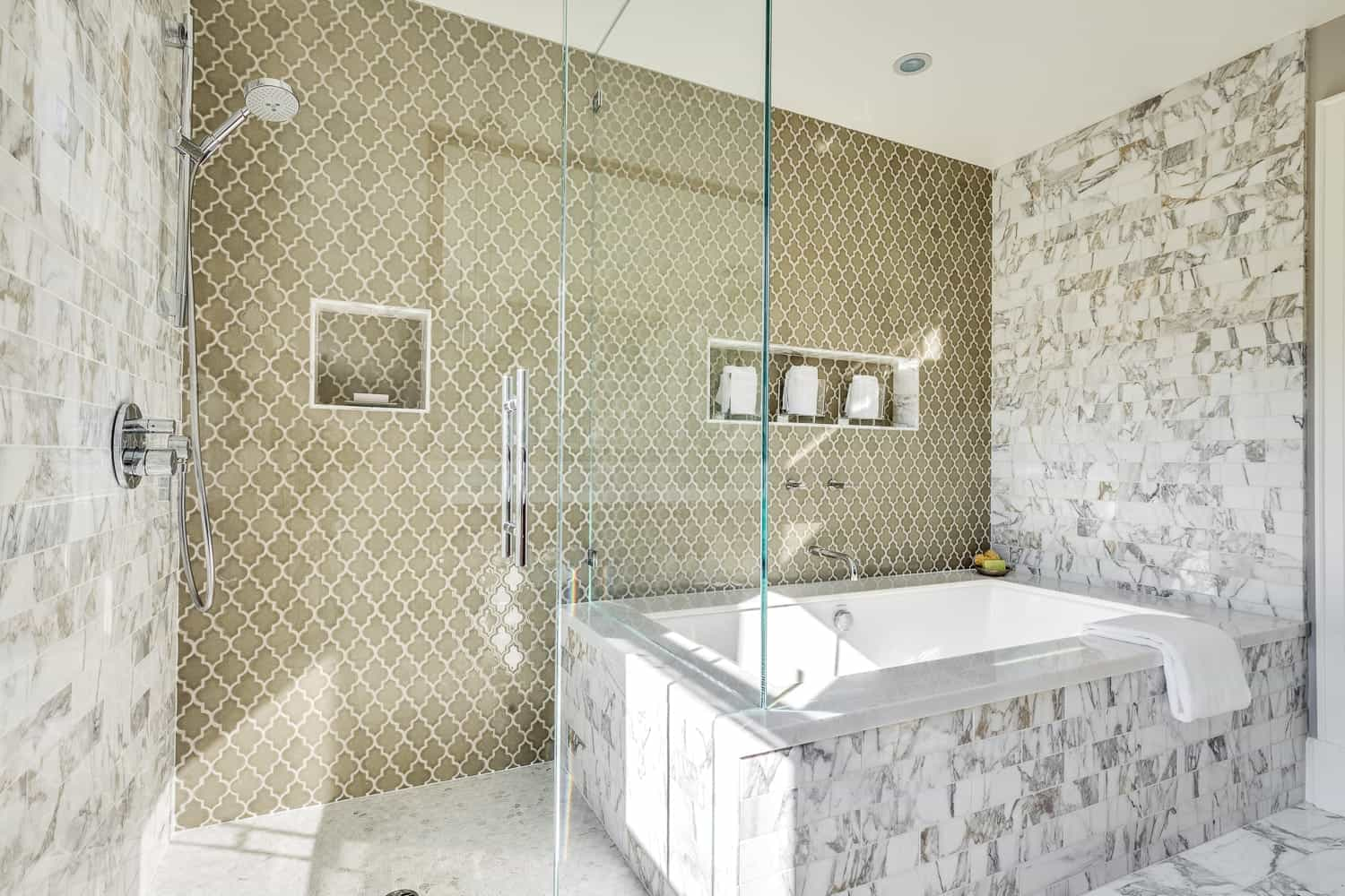Large Modern Bathroom Featuring Combination With A Glass Shower And Jacuzzi Tub With Patterned Tile Accent Wall (Image 9 of 16)