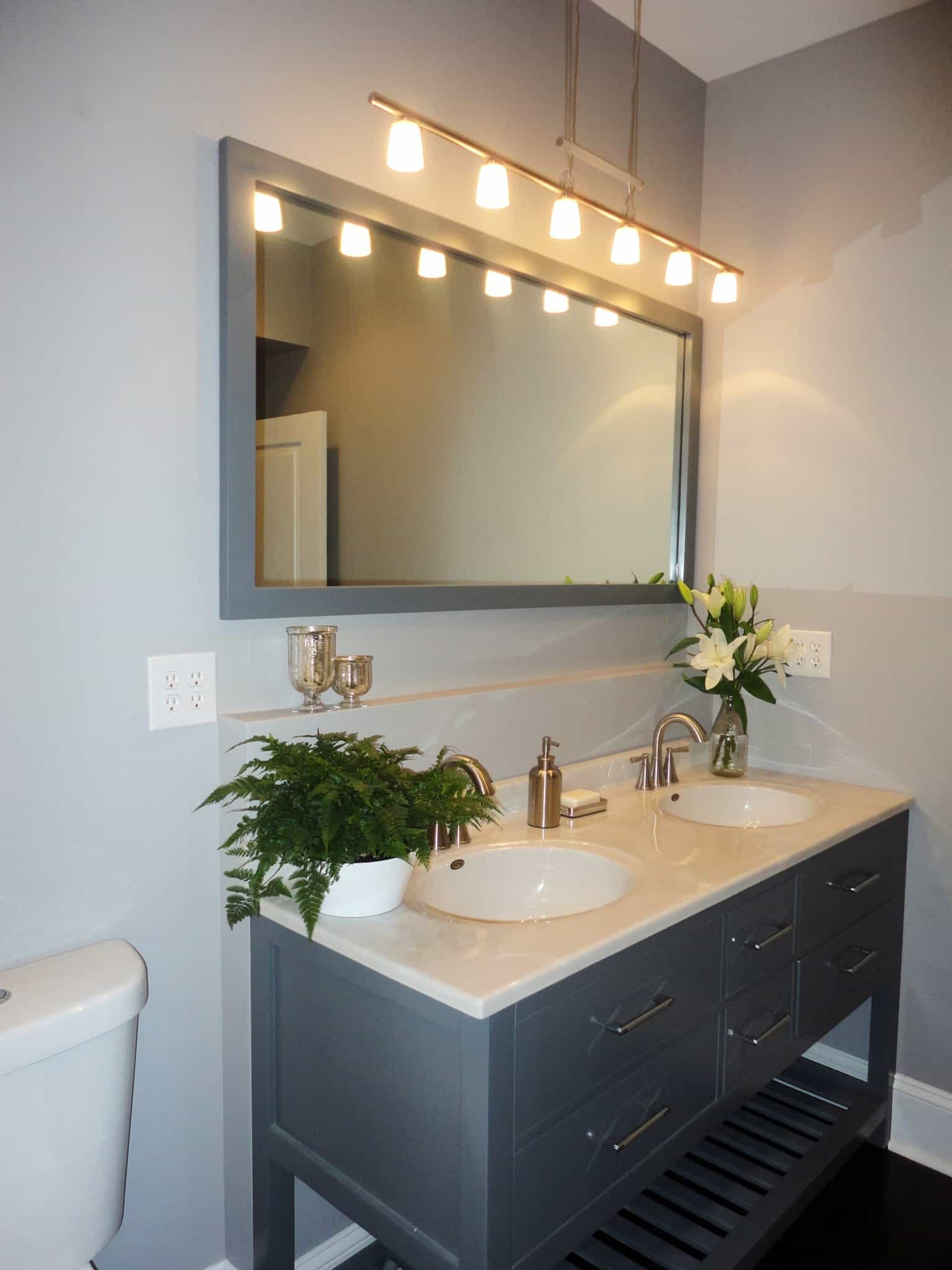 Large Vanity With Mirror And Pendant Light In Remodeled Upstairs Bathroom (Image 12 of 20)