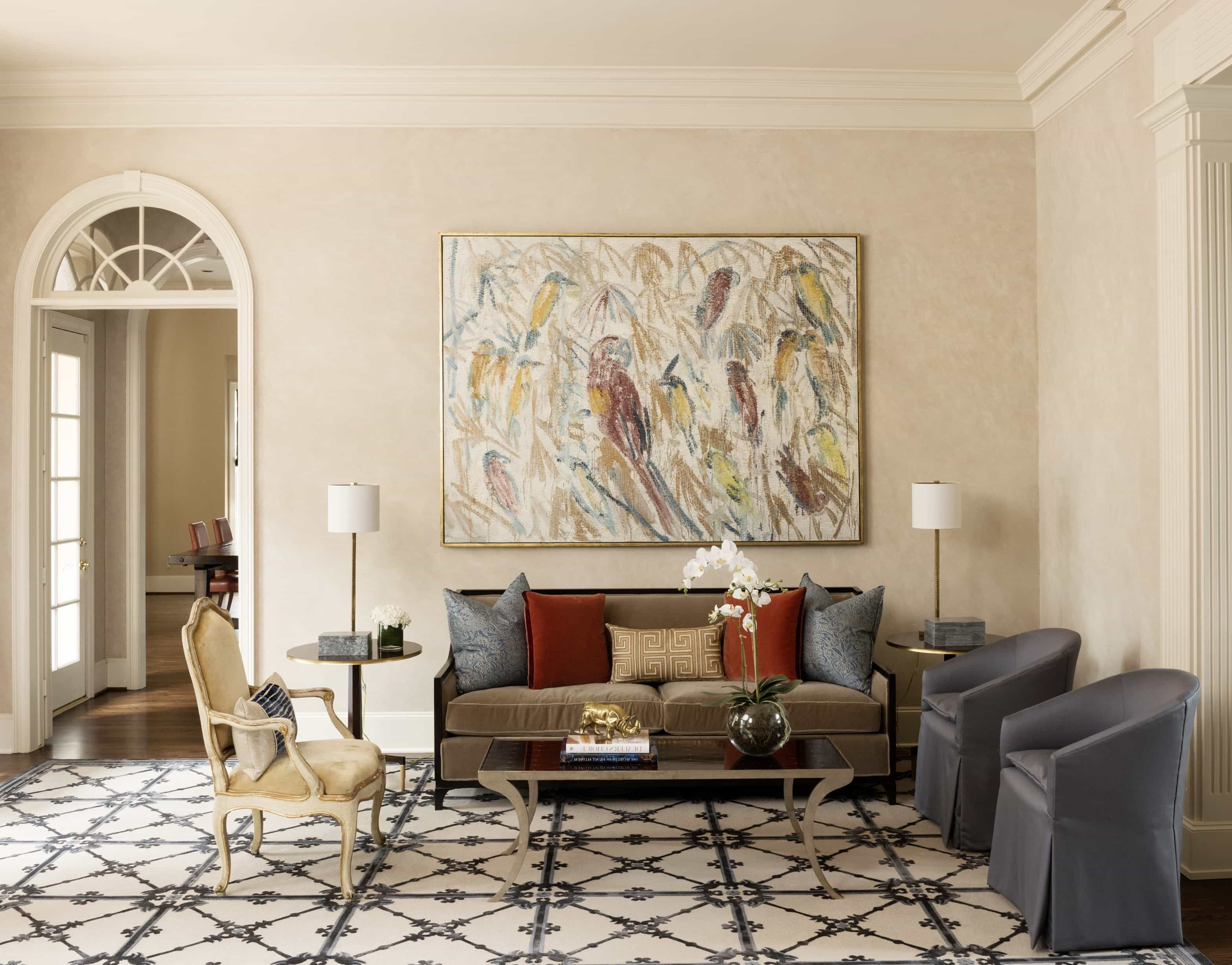 Layers Of Color And Pattern Carpet Flooring For Charm Classic Living Room (Photo 1 of 13)