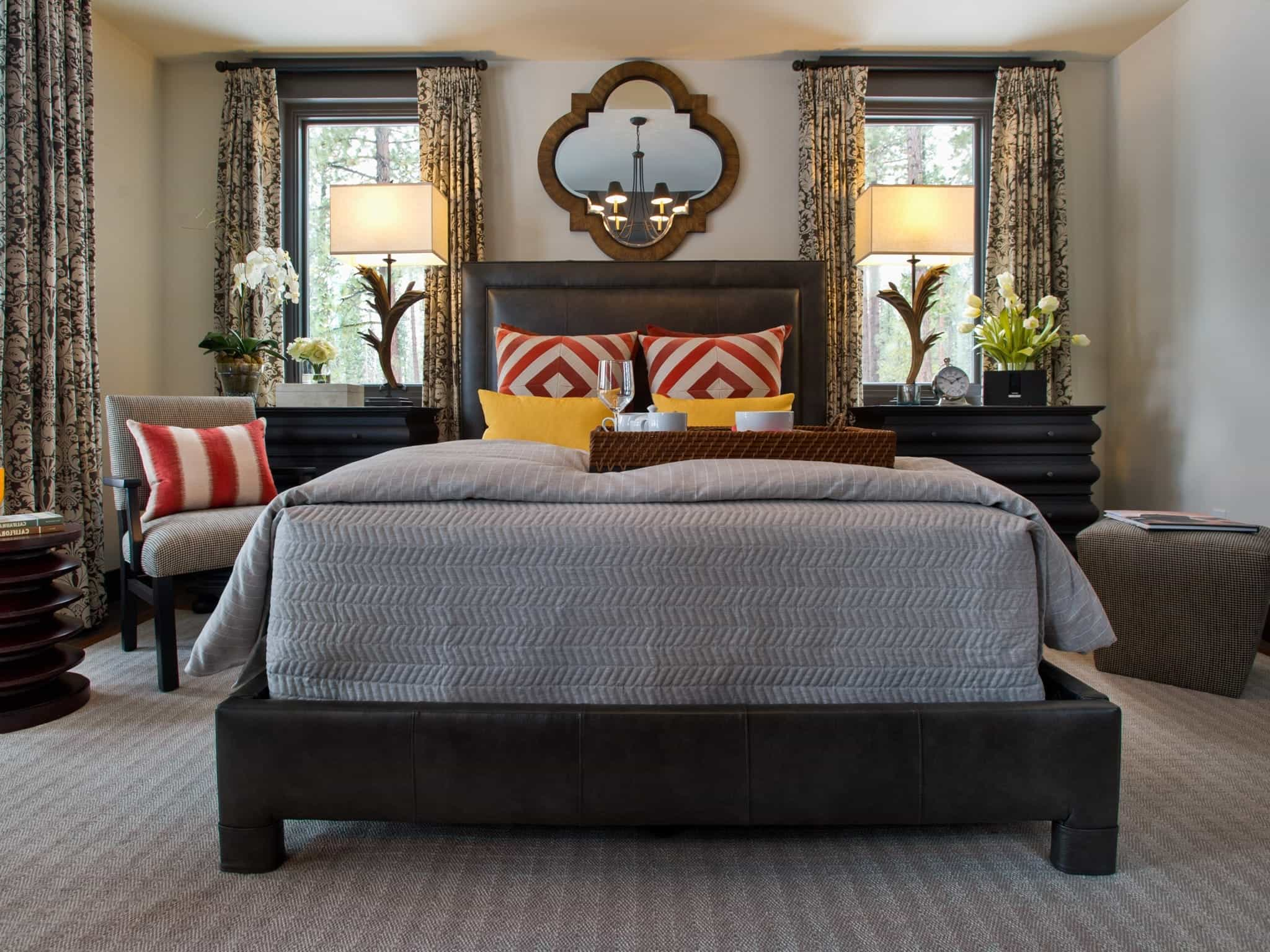Low Buget Master Bedroom Decor With Gray Bedding And Vibrant Pillows (Image 12 of 16)
