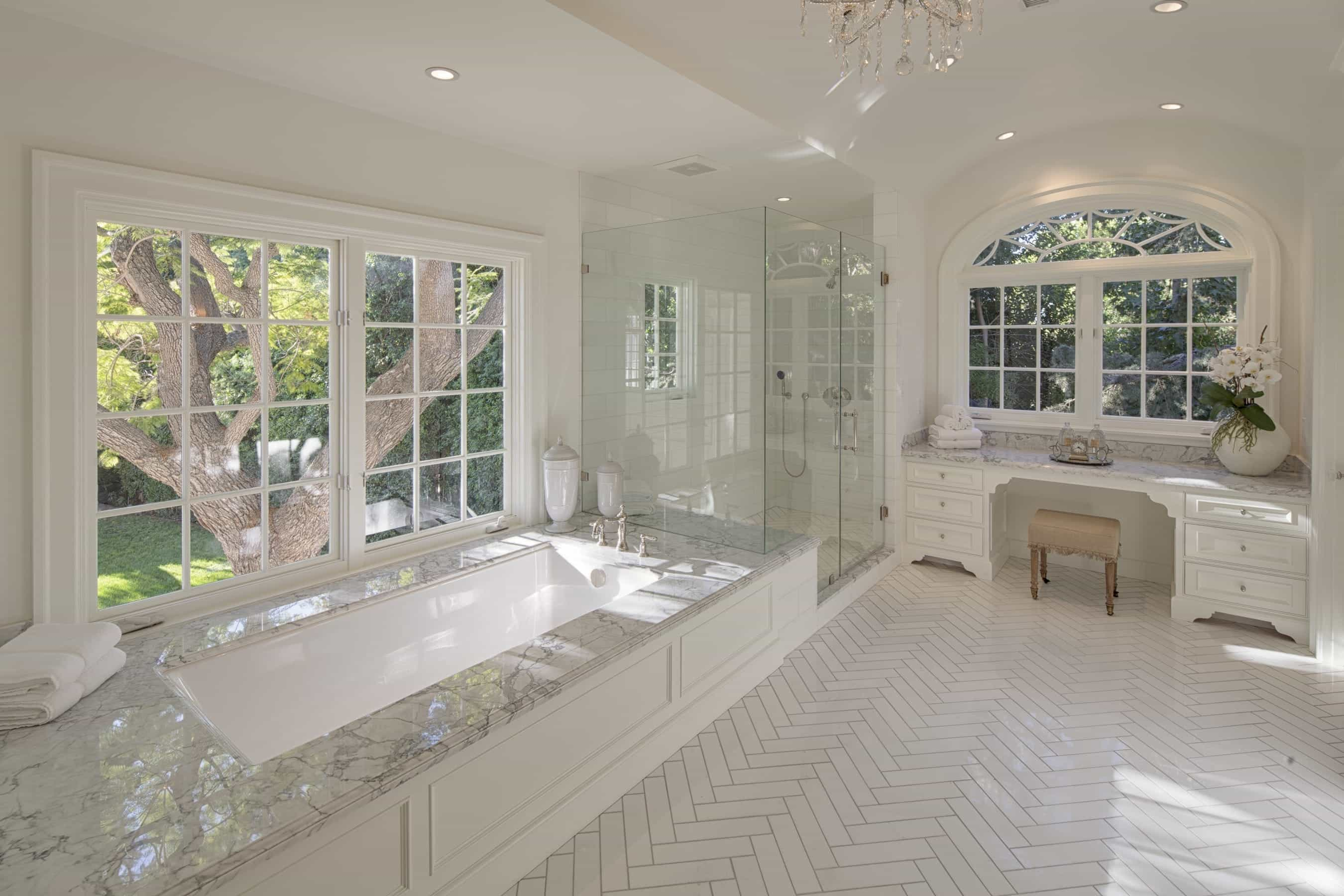 Luxurious, Traditional Bathroom With Herringbone Tile Floor (Image 11 of 20)