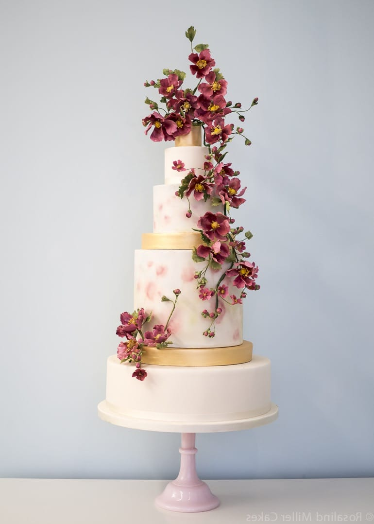 Marsala Blossoms Couture Tall Wedding Cake (View 10 of 20)