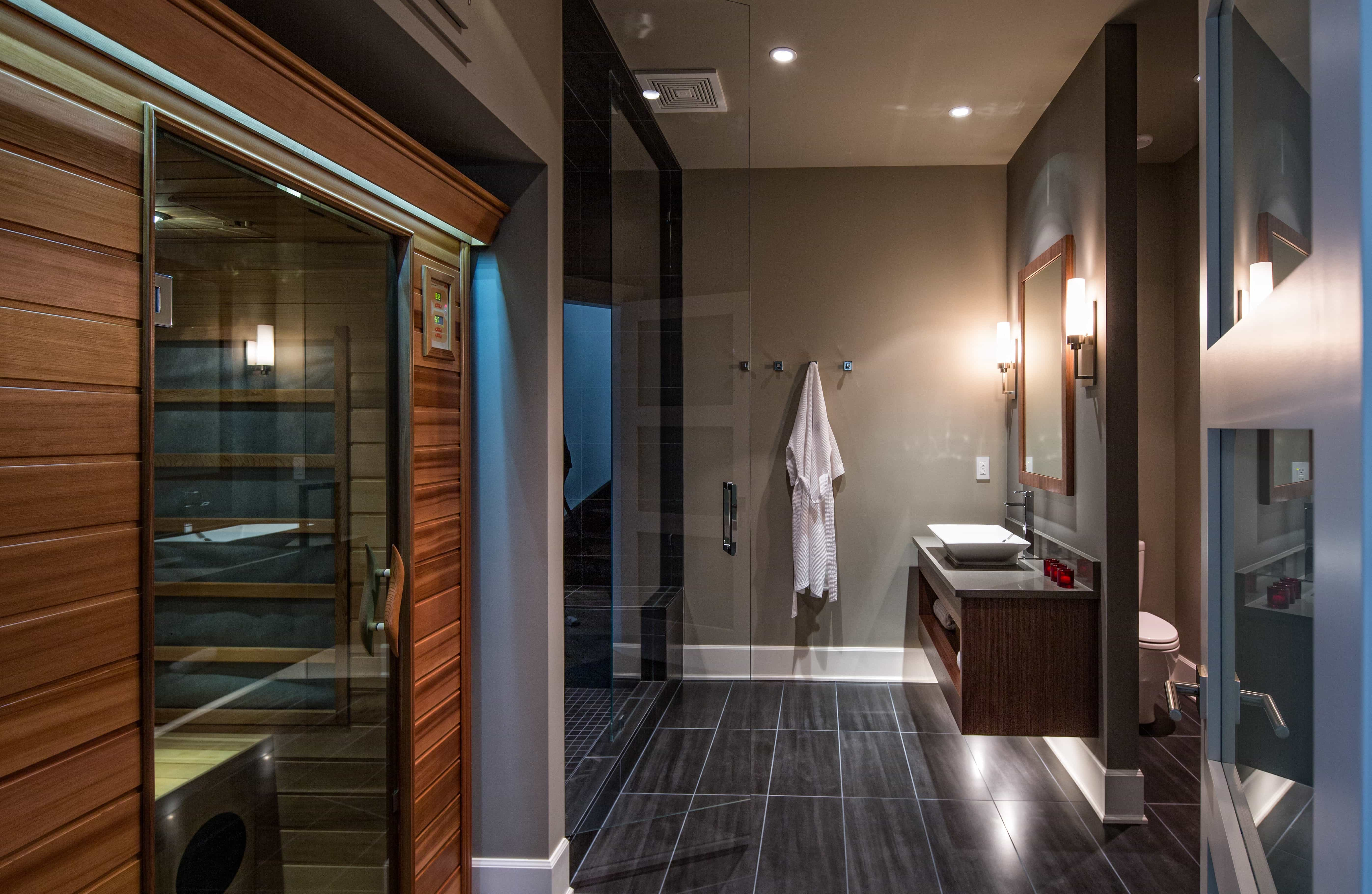 Masculine Contemporary Spa Bath And Sauna With Black Tile Floor And Wall Color (View 2 of 10)