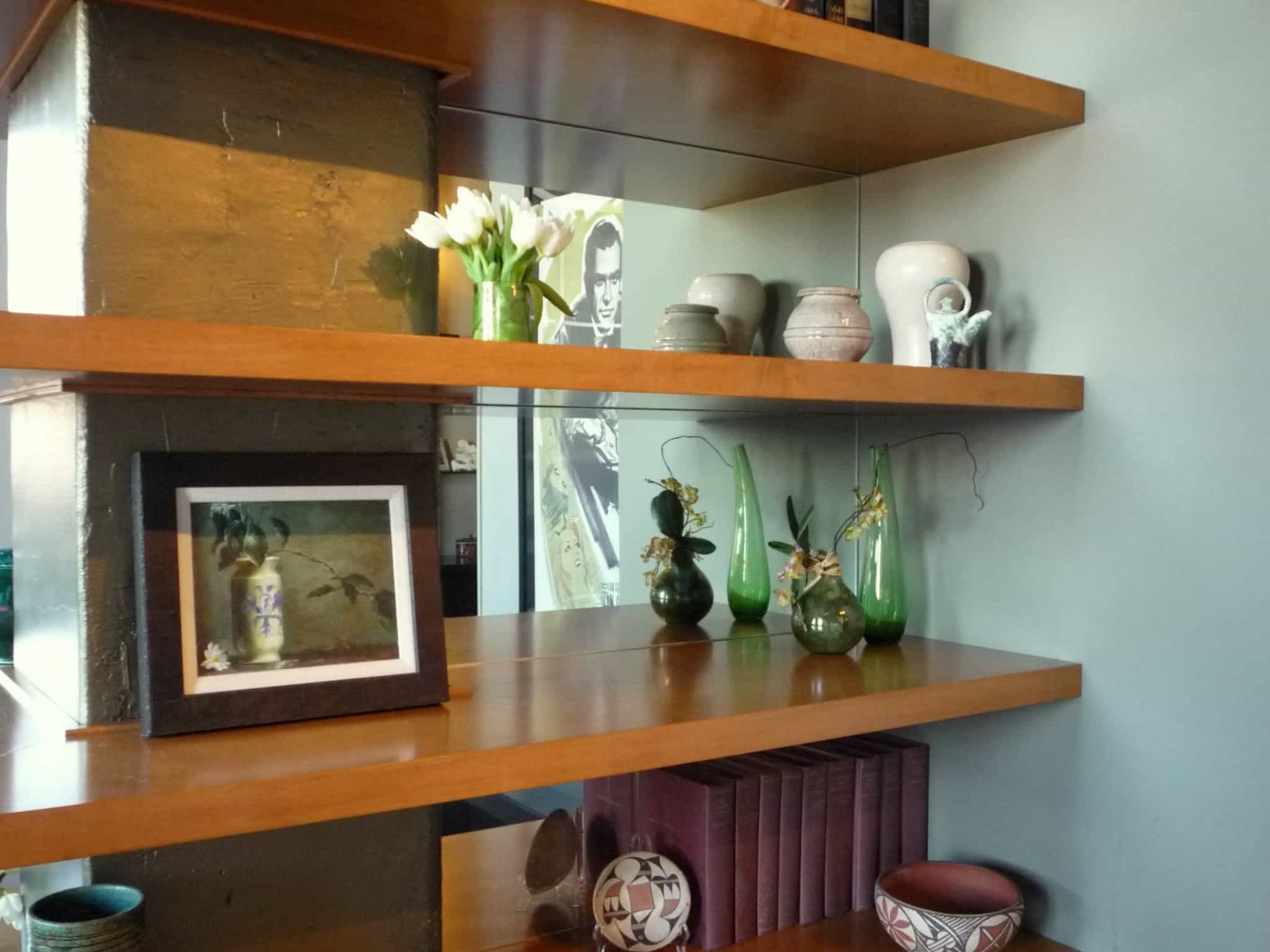 Mid Century Bookshelf With Mirrored Back (Image 17 of 29)