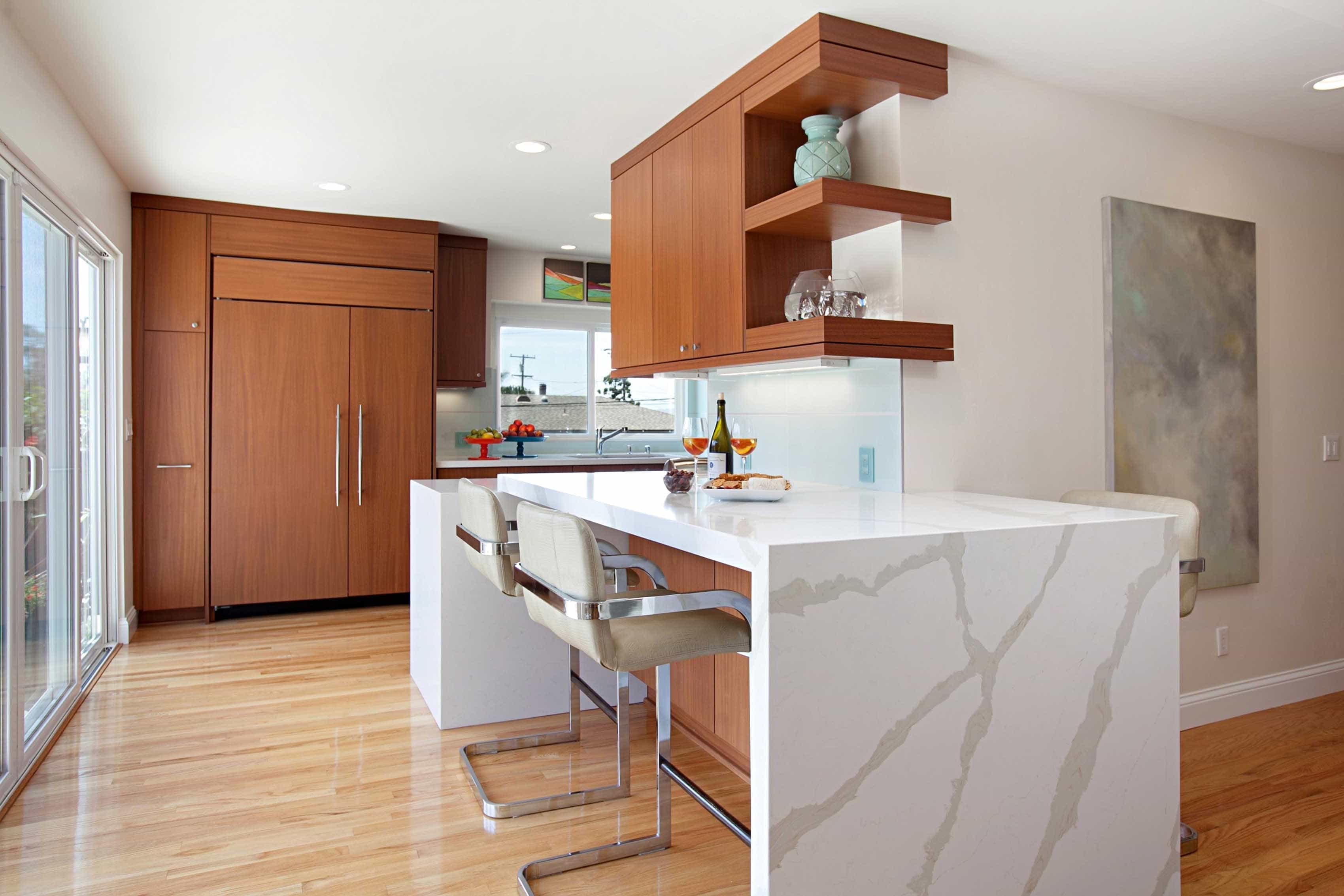 Midcentury Modern Kitchen Bar With Large Marble Crack Design With Trendy Wooden Flat Cabinets (Photo 12 of 26)