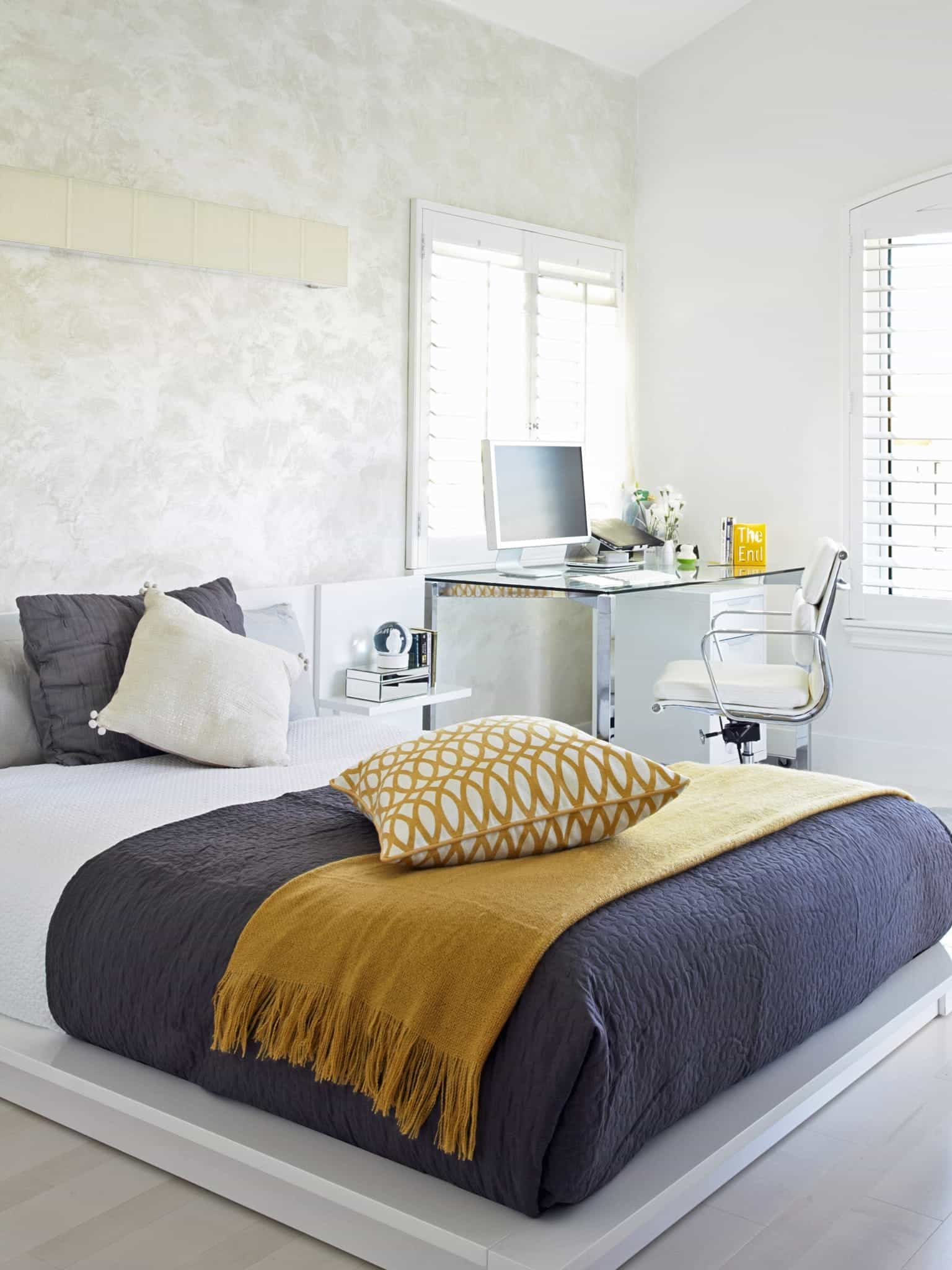 Minimalist Apartment Bedroom Decor Combo With Modern Workspace (Image 19 of 28)