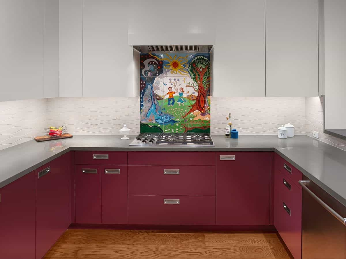 Minimalist Kitchen Features Custom Backsplash & Two Toned Cabinets (View 24 of 26)
