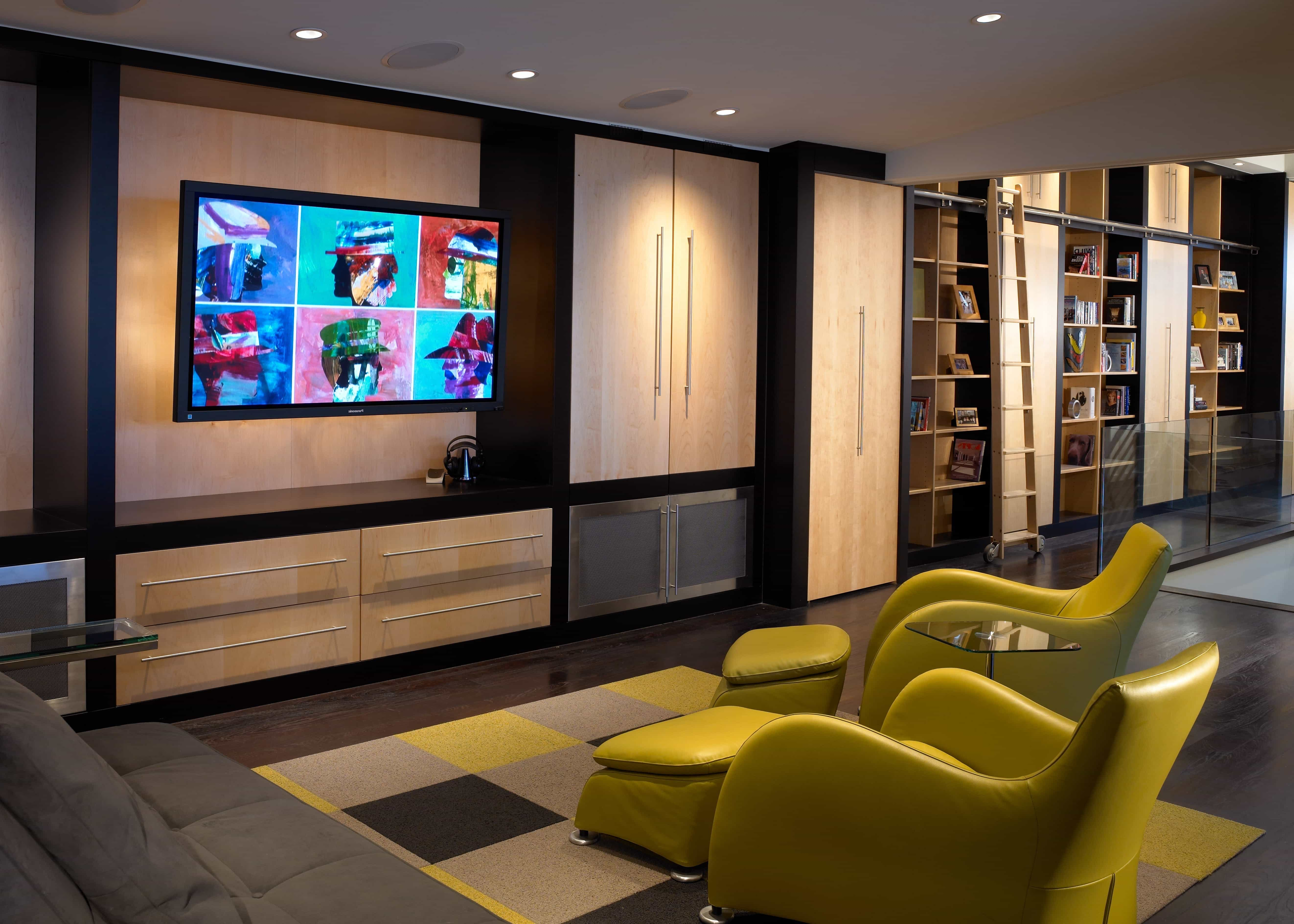 Minimalist Multimedia Home Theater And Library Interior Combo (Image 13 of 21)