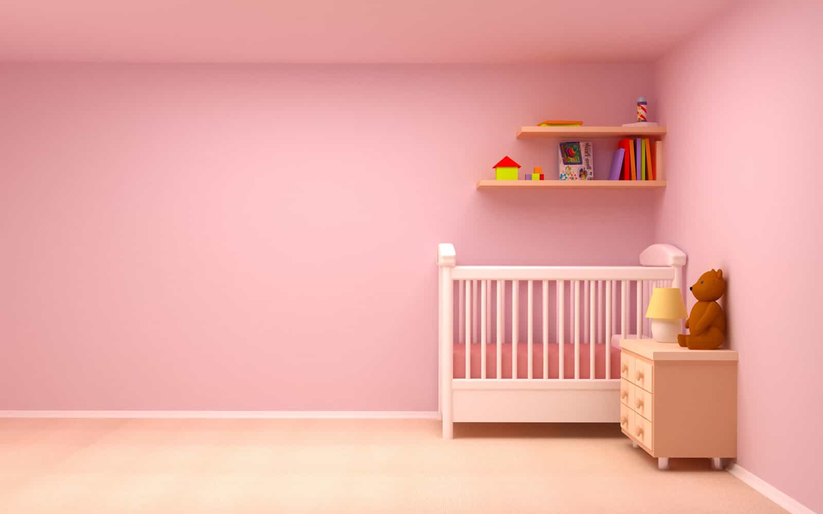 Minimalist Nursery Bedroom With Pink Wall Decor (Image 3 of 9)
