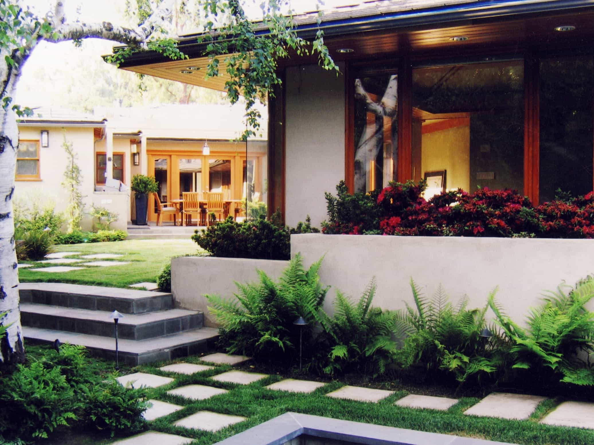 Modern Asian Garden Two Tiered Yard With Fern Lined Stone Walkway (View 7 of 32)