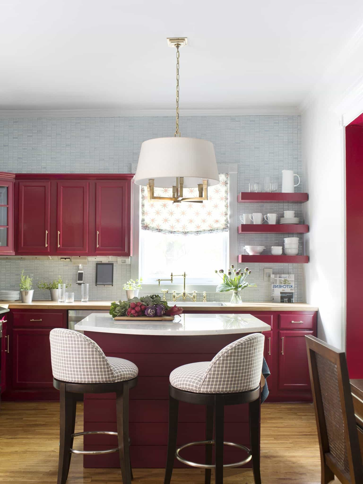 Modern Burgundy Kitchen Makeover With Wood Cabinets (View 3 of 4)