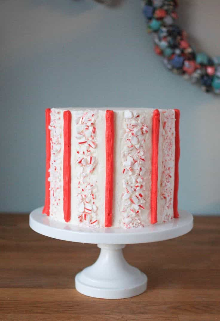 Modern Candy Cane Buttercream Stripe Wedding Cake (Image 4 of 10)