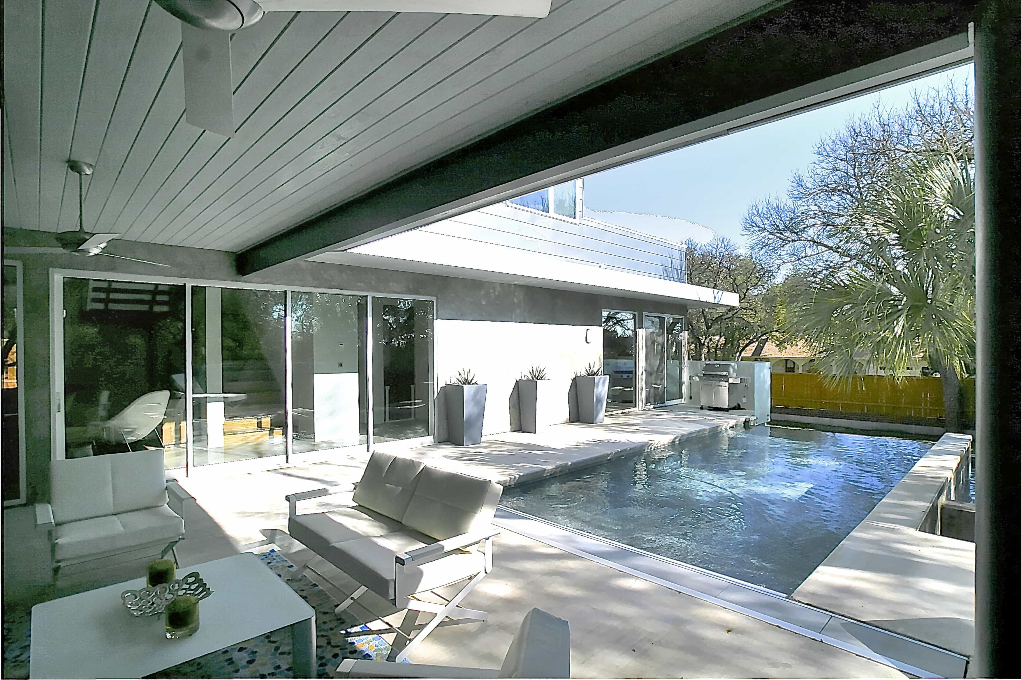 Modern Covered Patio By Swimming Pool (View 18 of 25)