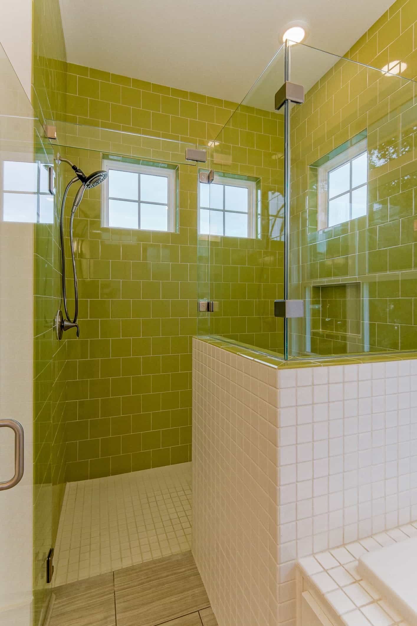 Modern Glass Enclosed Shower Bathroom With Lime Green Tiles (Image 11 of 12)