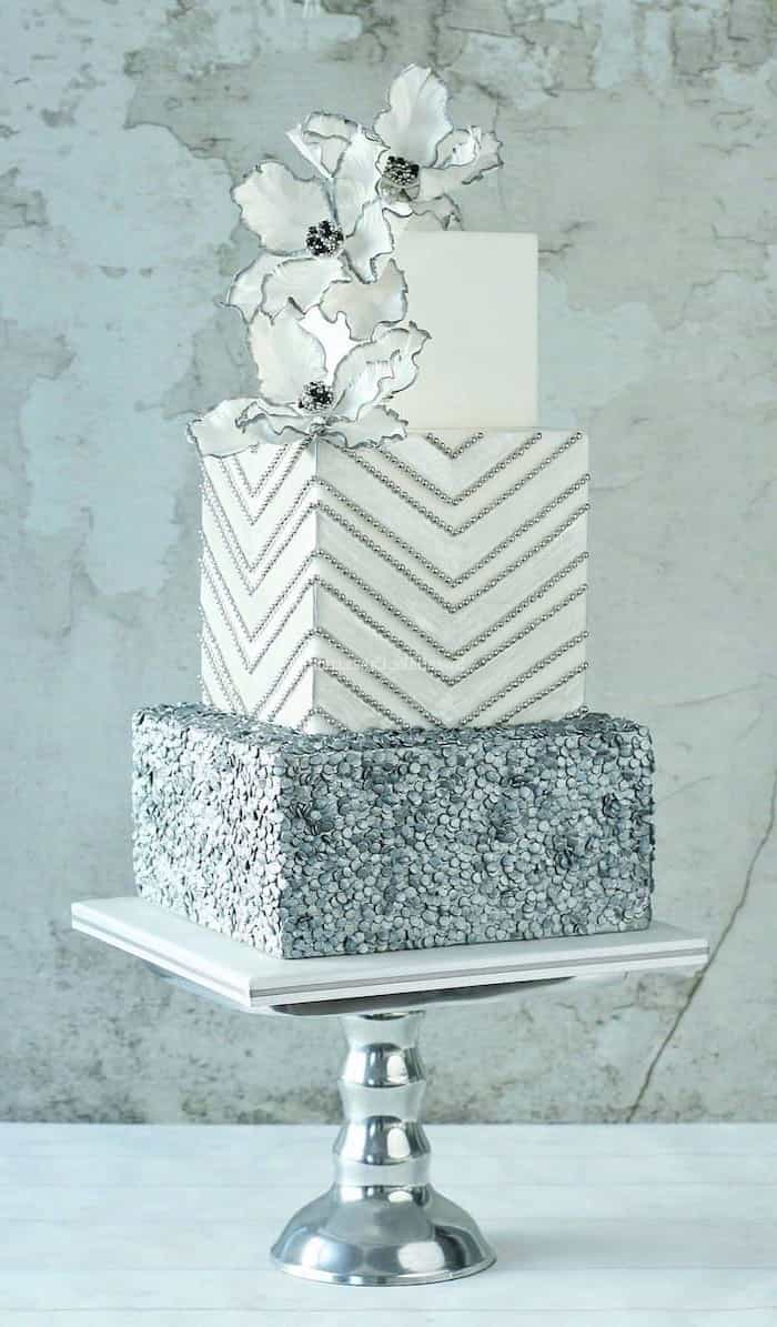 Modern Mixed Pattern Square Wedding Cake With 3 Tiers (Image 5 of 10)
