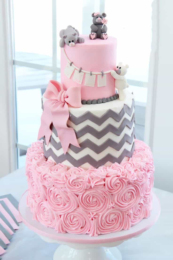 Modern Pink And Gray Rosette Wedding Cake With Teddy Bears (Image 7 of 10)
