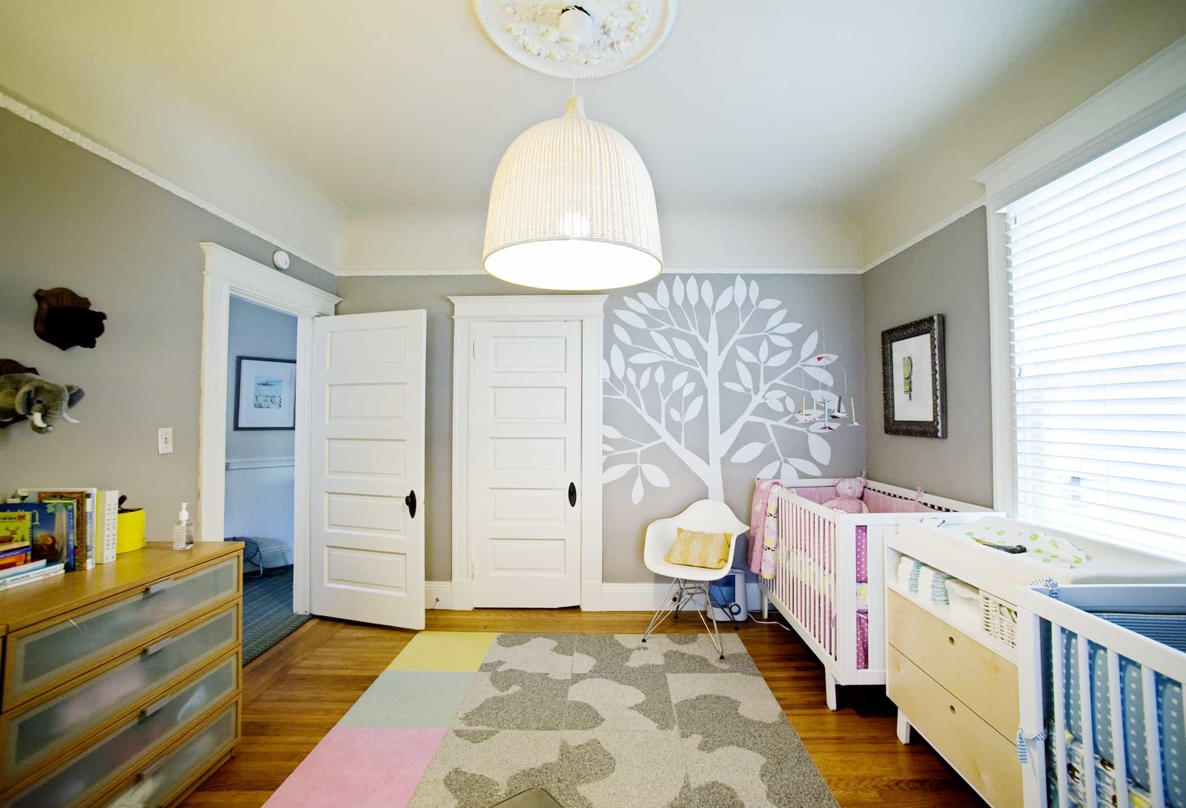 Modern Twin Nursery With Charming Wall Art (Image 21 of 33)