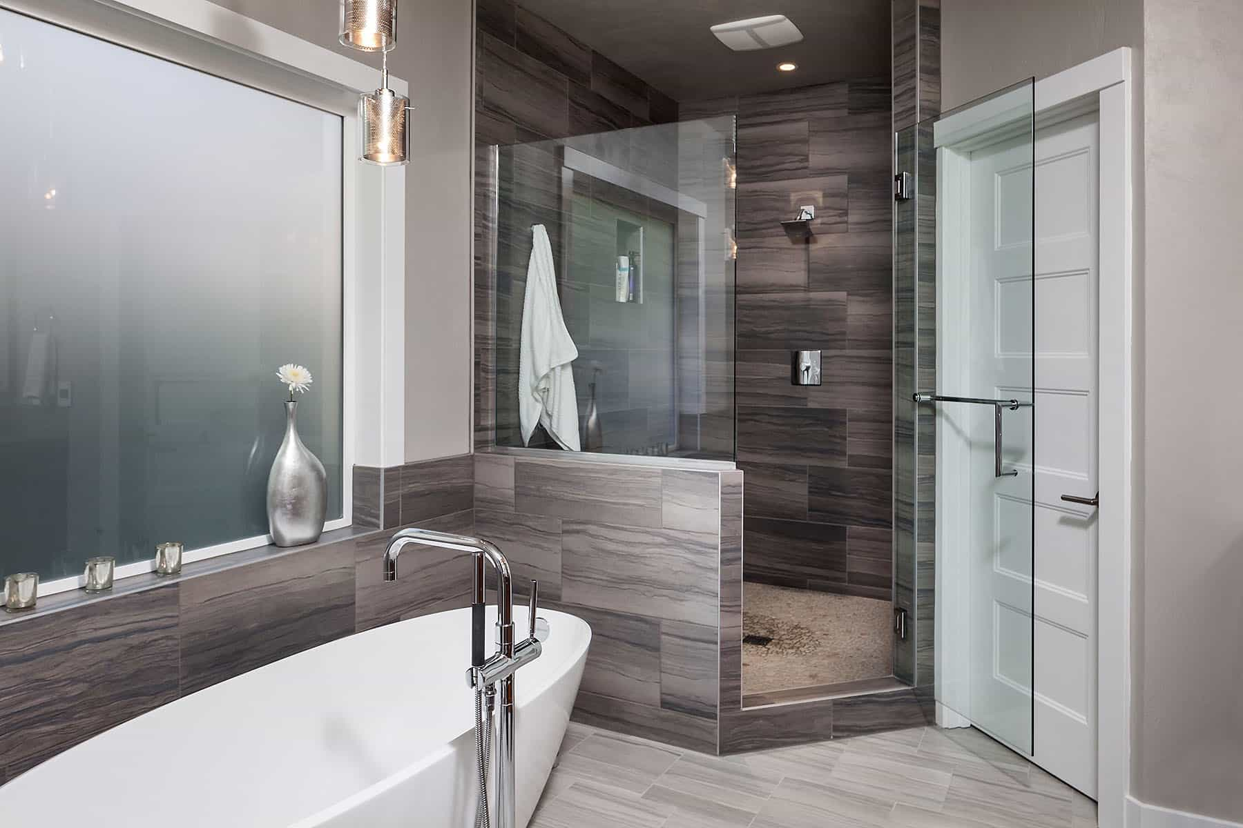 Modern And Masculine Spa Bathroom With Frosted Glass Windows (View 6 of 29)