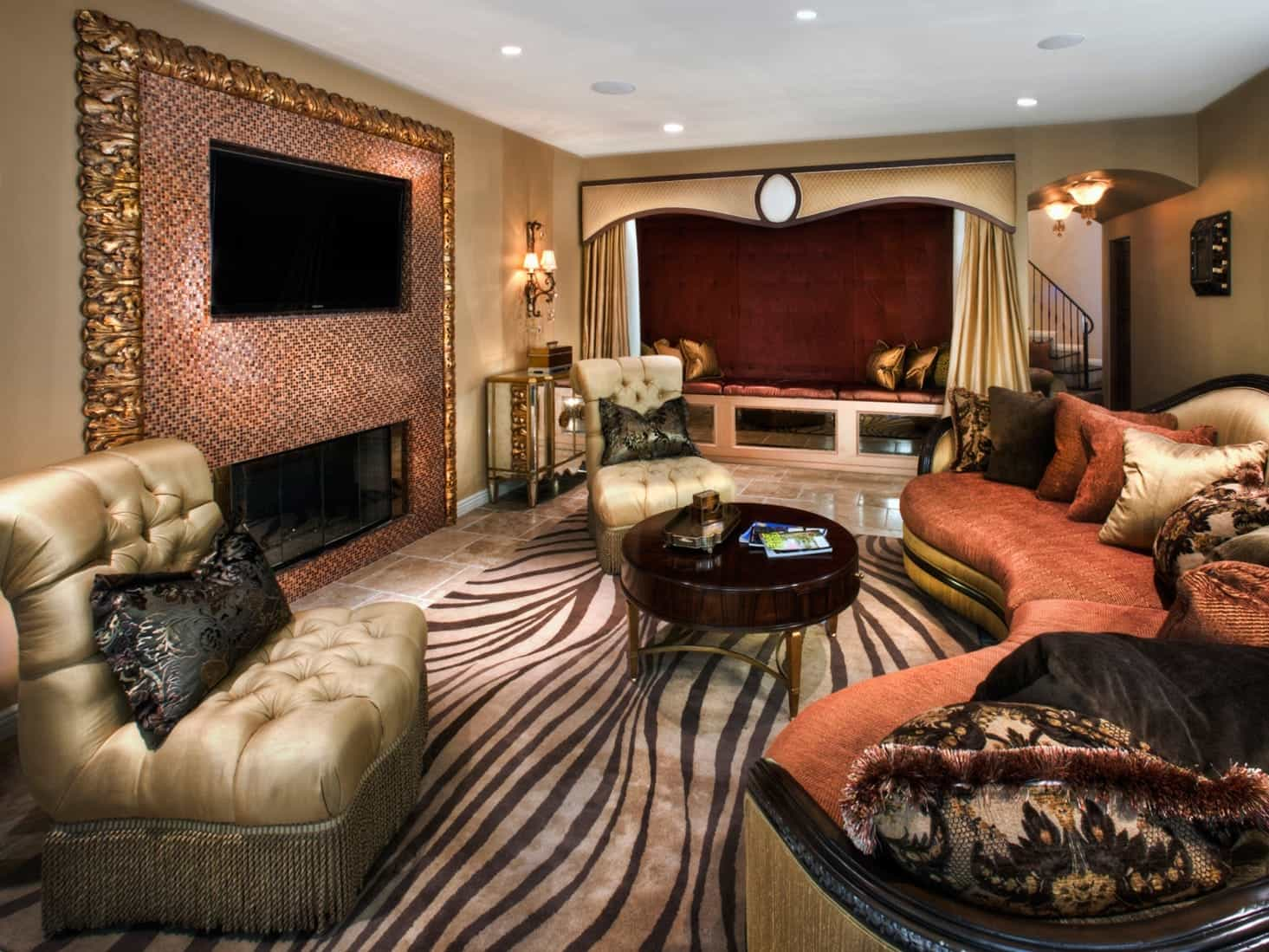 Modern Eclectic Living Room With Royal Sofa And Zebra Print Rug (Image 22 of 31)