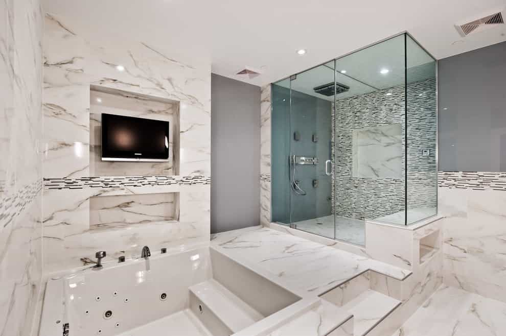 Modern Luxury Bathroom Remodel With Corner Tub And LCD TV (Image 11 of 14)