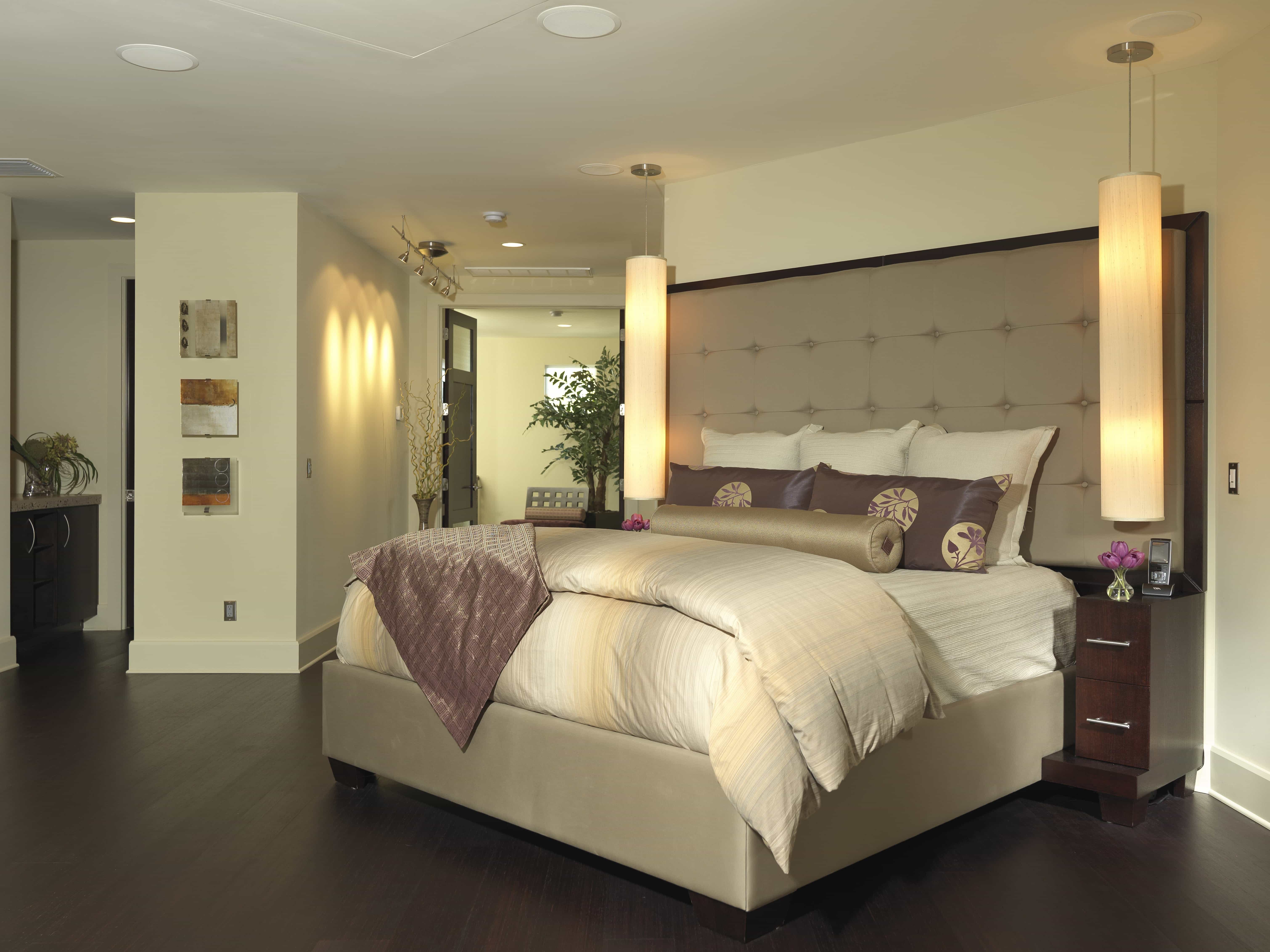 Neutral Contemporary Bedroom With Purple Asian Inspired Accents (View 12 of 32)