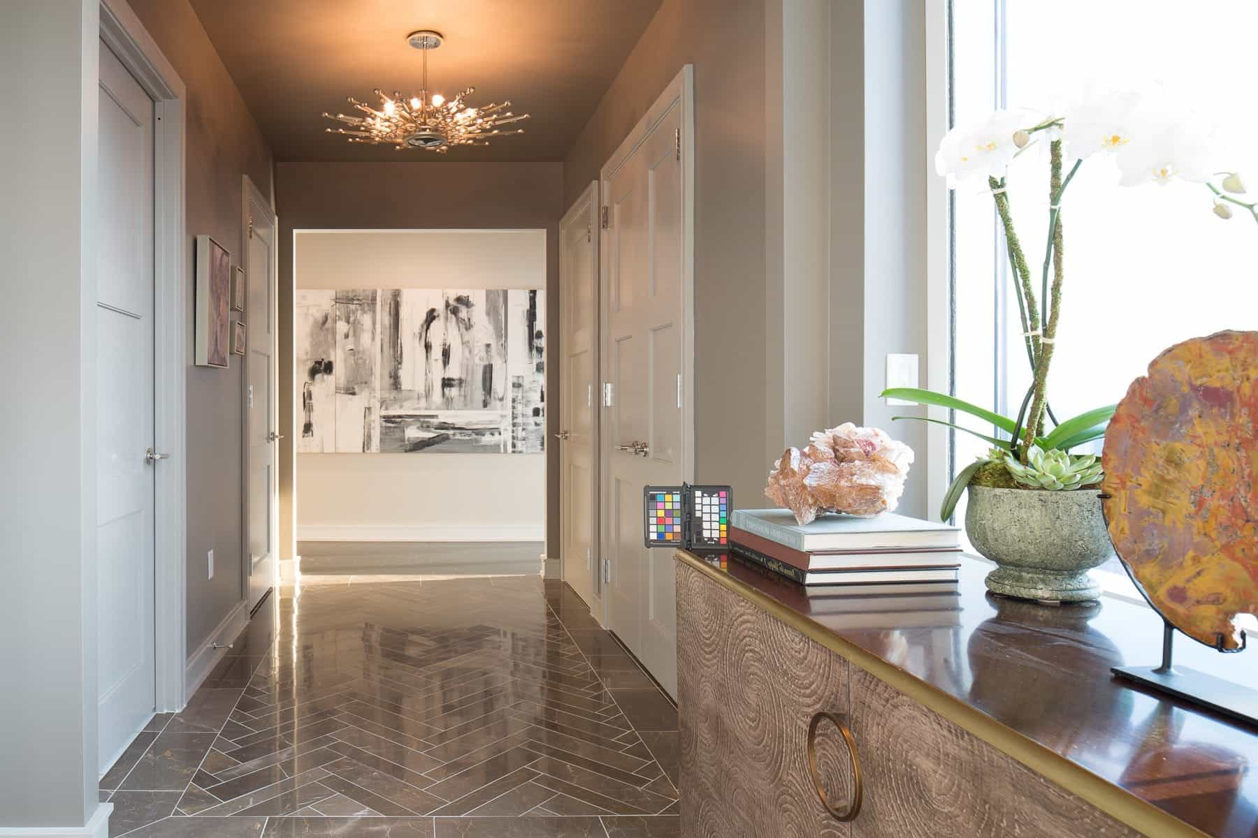 Neutral Contemporary Foyer With Grey Marble Floor (View 9 of 13)