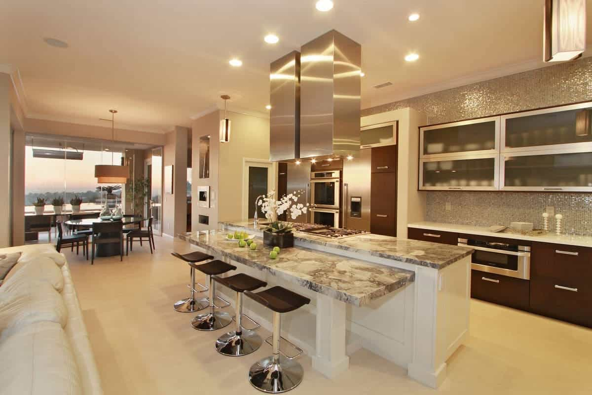 Open Plan Kitchen With Gray And White Marble Island (Image 7 of 13)